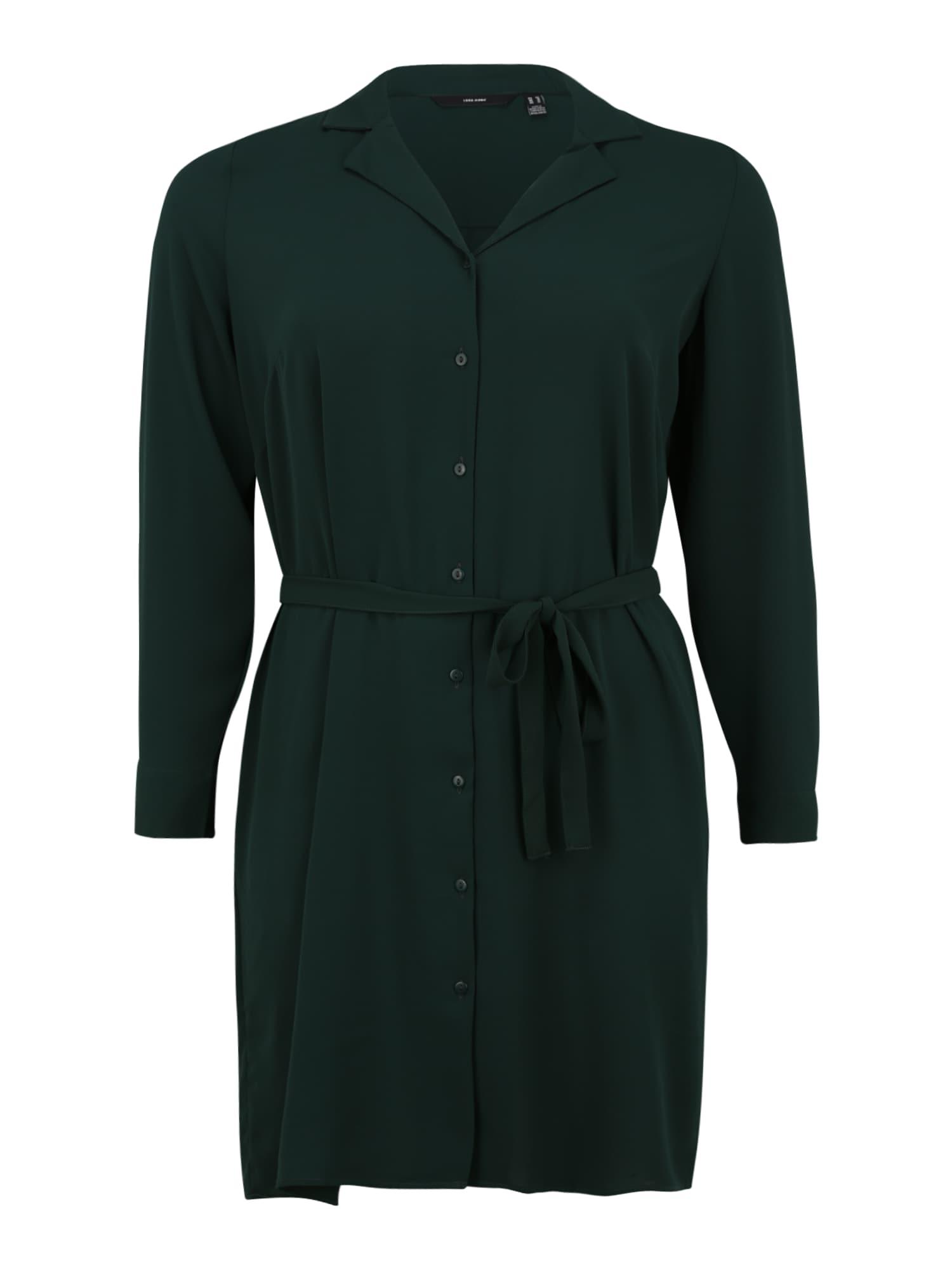Vero Moda Curve Košilové šaty  tmavě zelená