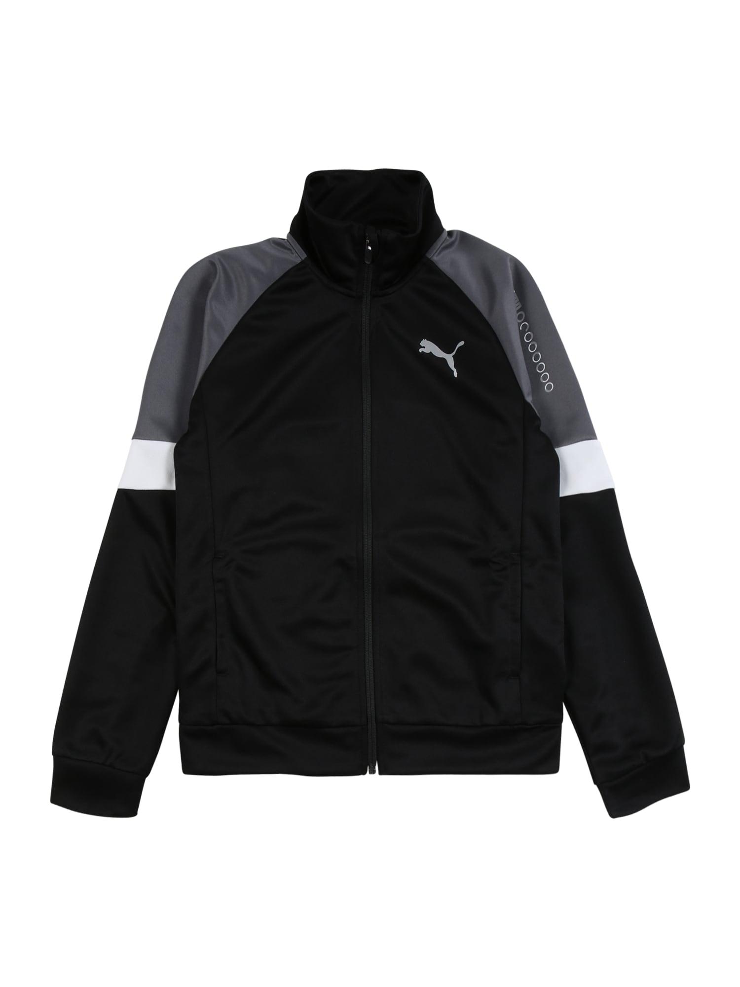 PUMA Džemperis juoda / balta / pilka