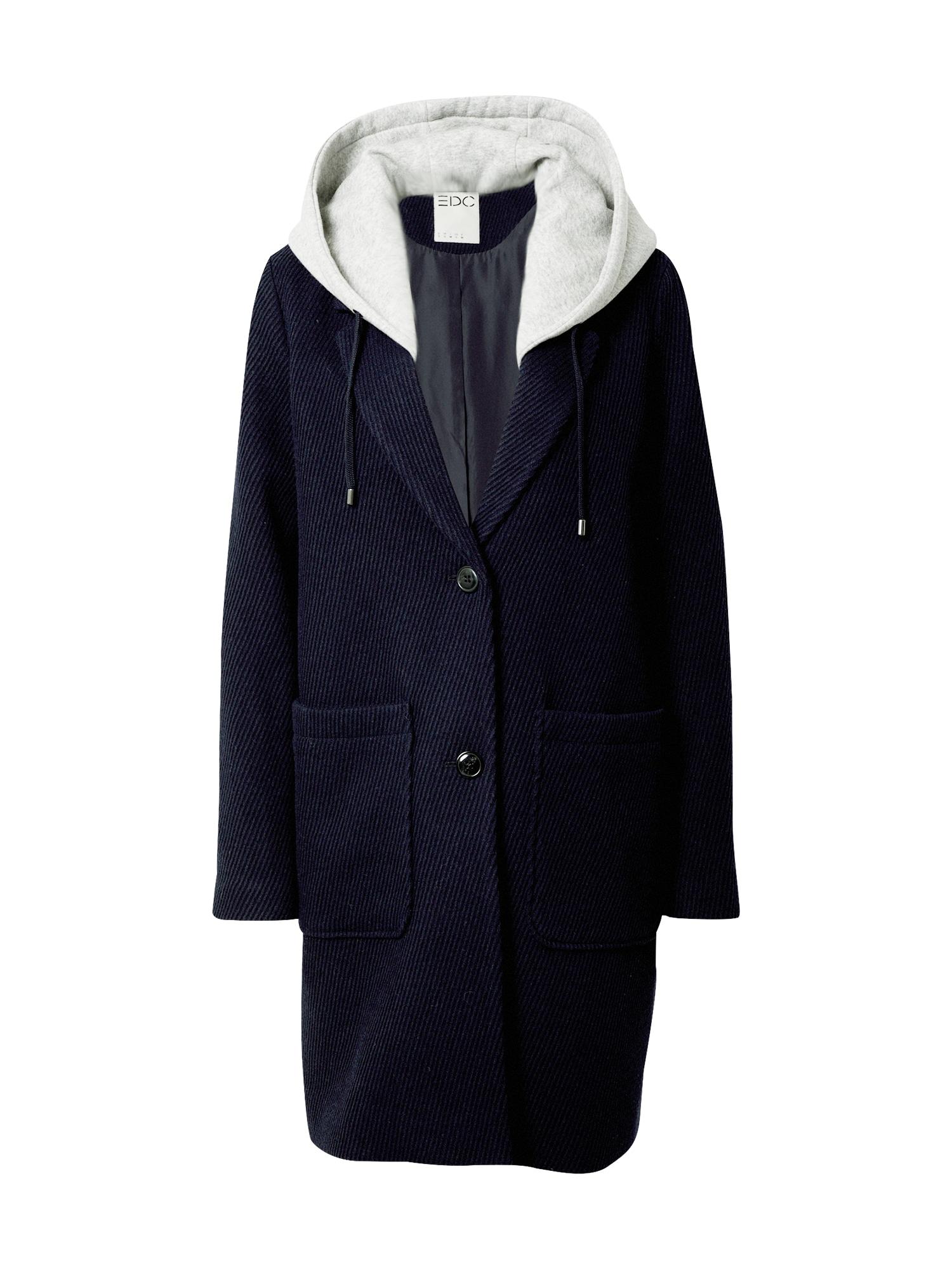 EDC BY ESPRIT Demisezoninis paltas tamsiai mėlyna / balta