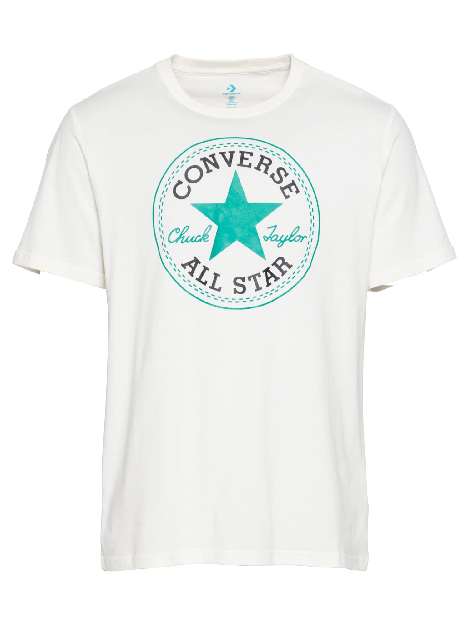 CONVERSE Marškinėliai kremo / juoda / nefrito spalva
