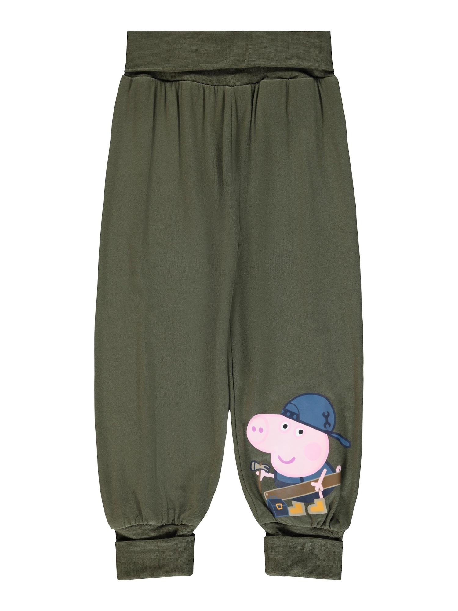 NAME IT Kelnės 'Peppa Pig' tamsiai žalia / rožių spalva / mėlyna