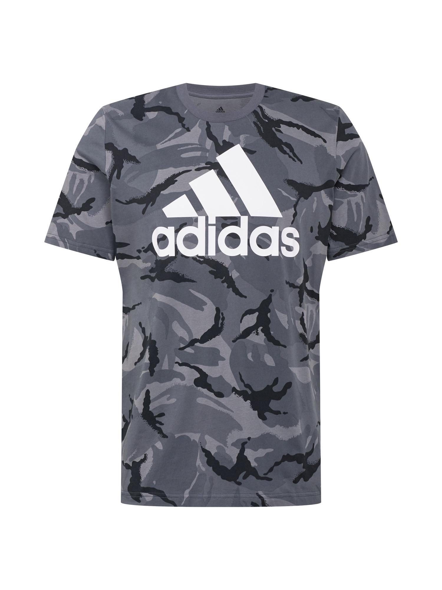 ADIDAS PERFORMANCE Marškinėliai antracito / pilka / balta