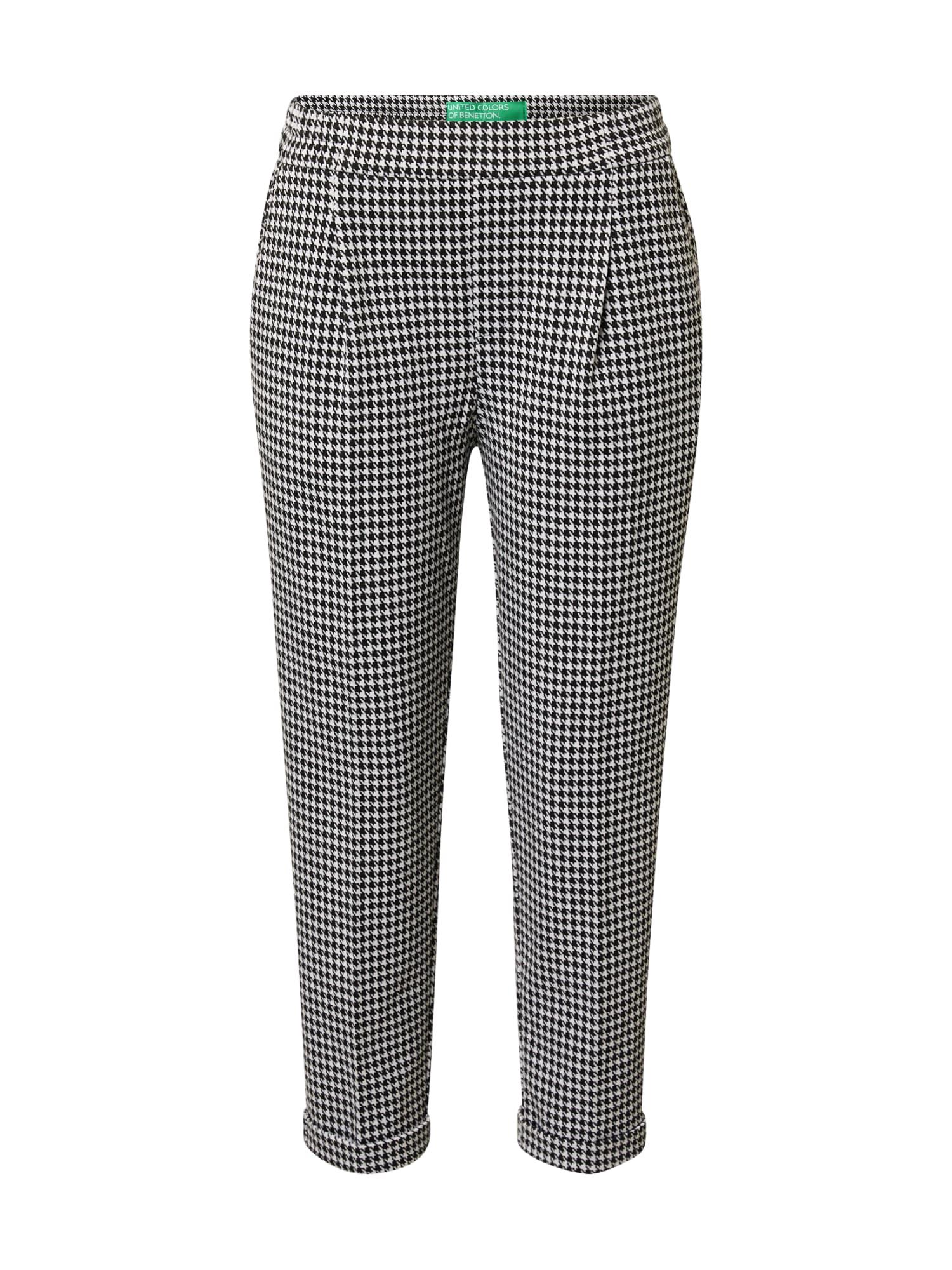 UNITED COLORS OF BENETTON Kalhoty se sklady v pase  černá / bílá