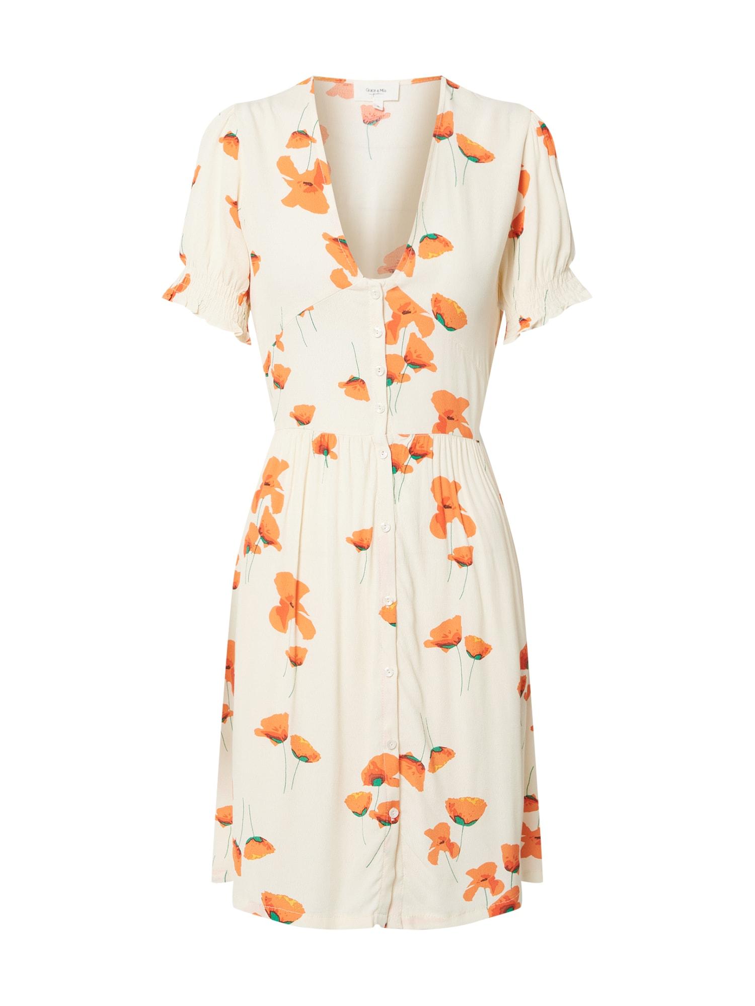 Grace & Mila Suknelė balta / oranžinė / žalia / tamsiai oranžinė