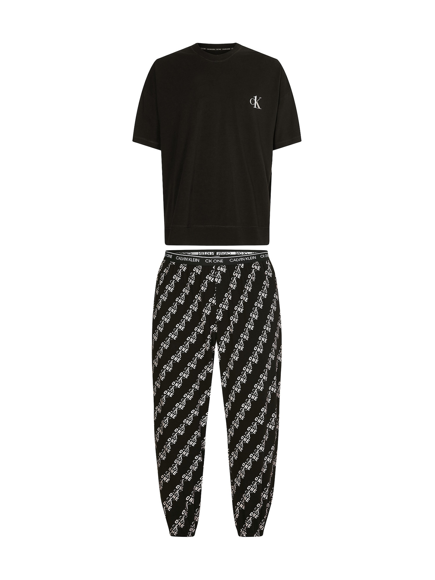 Calvin Klein Underwear Ilga pižama juoda / pilka / balta