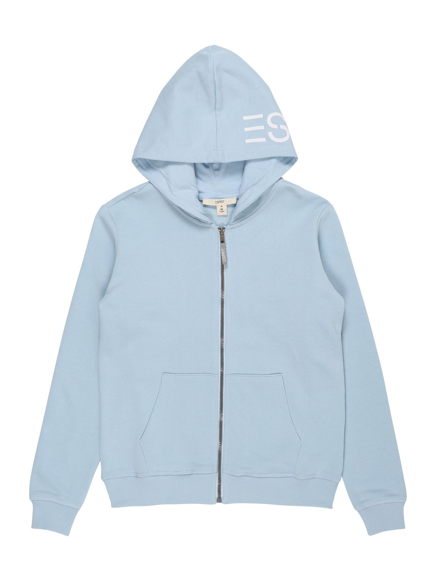 ESPRIT Džemperis šviesiai mėlyna / balta