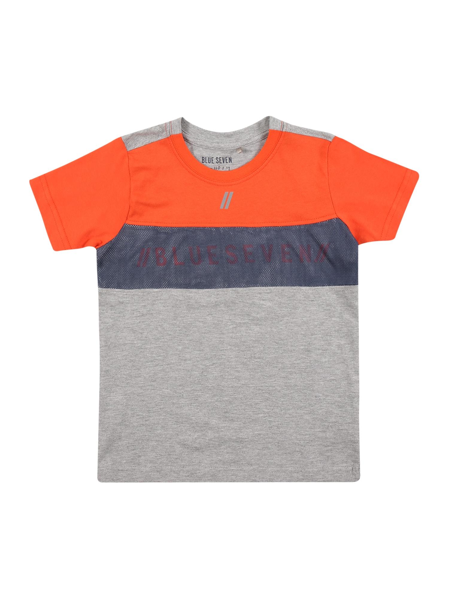 BLUE SEVEN Marškinėliai oranžinė / pilka / melsvai pilka
