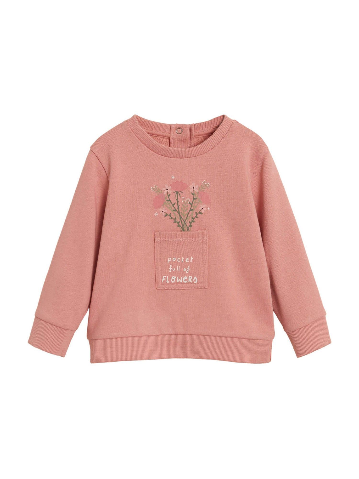 MANGO KIDS Mikina  pink / bílá / zelená