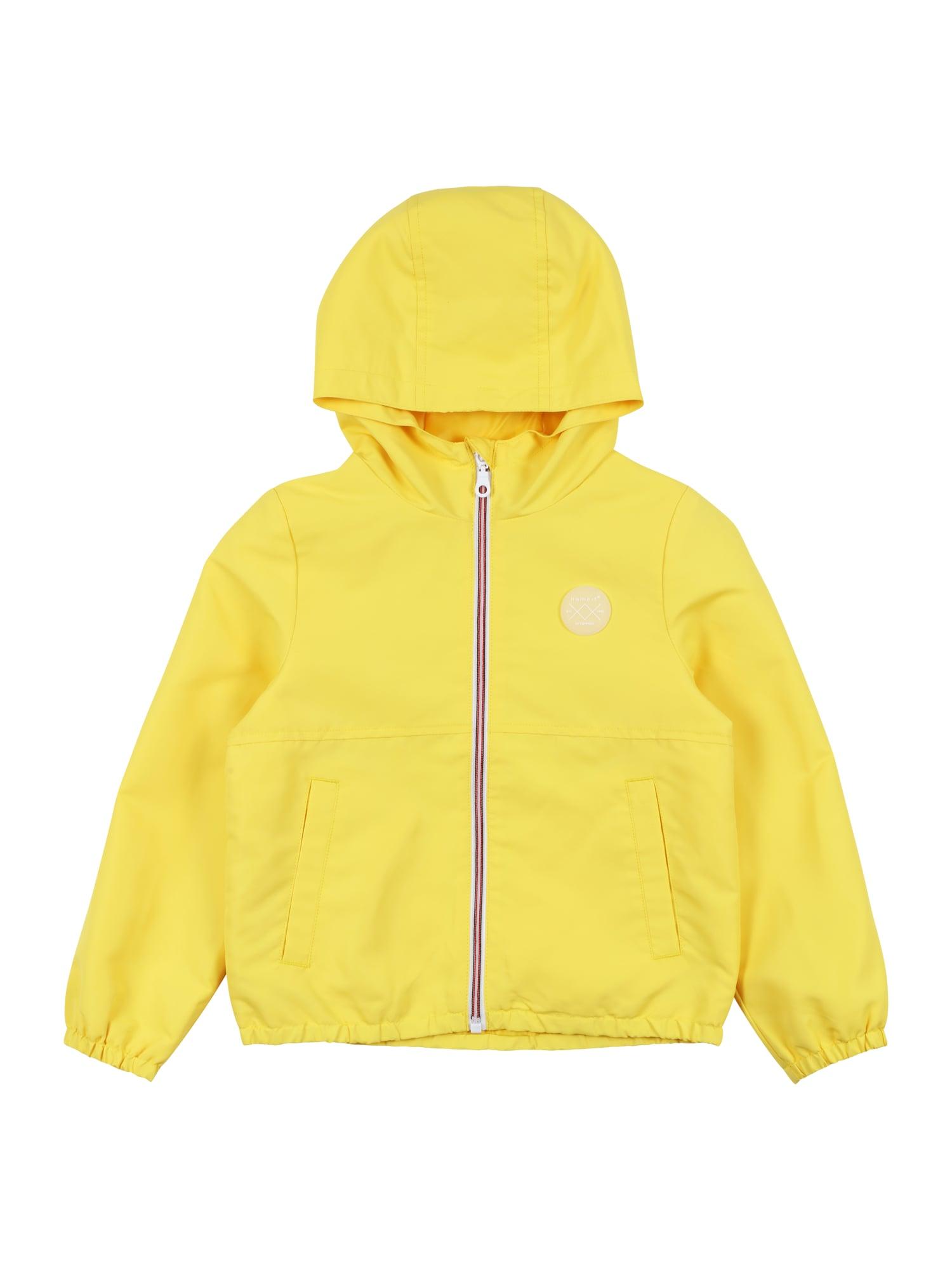 NAME IT Demisezoninė striukė 'Mizan' žaliosios citrinos spalva / balta / pastelinė oranžinė