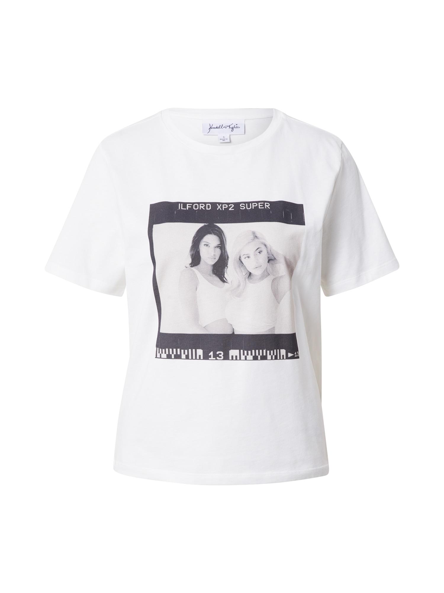 KENDALL + KYLIE Marškinėliai balta / juoda / pilka