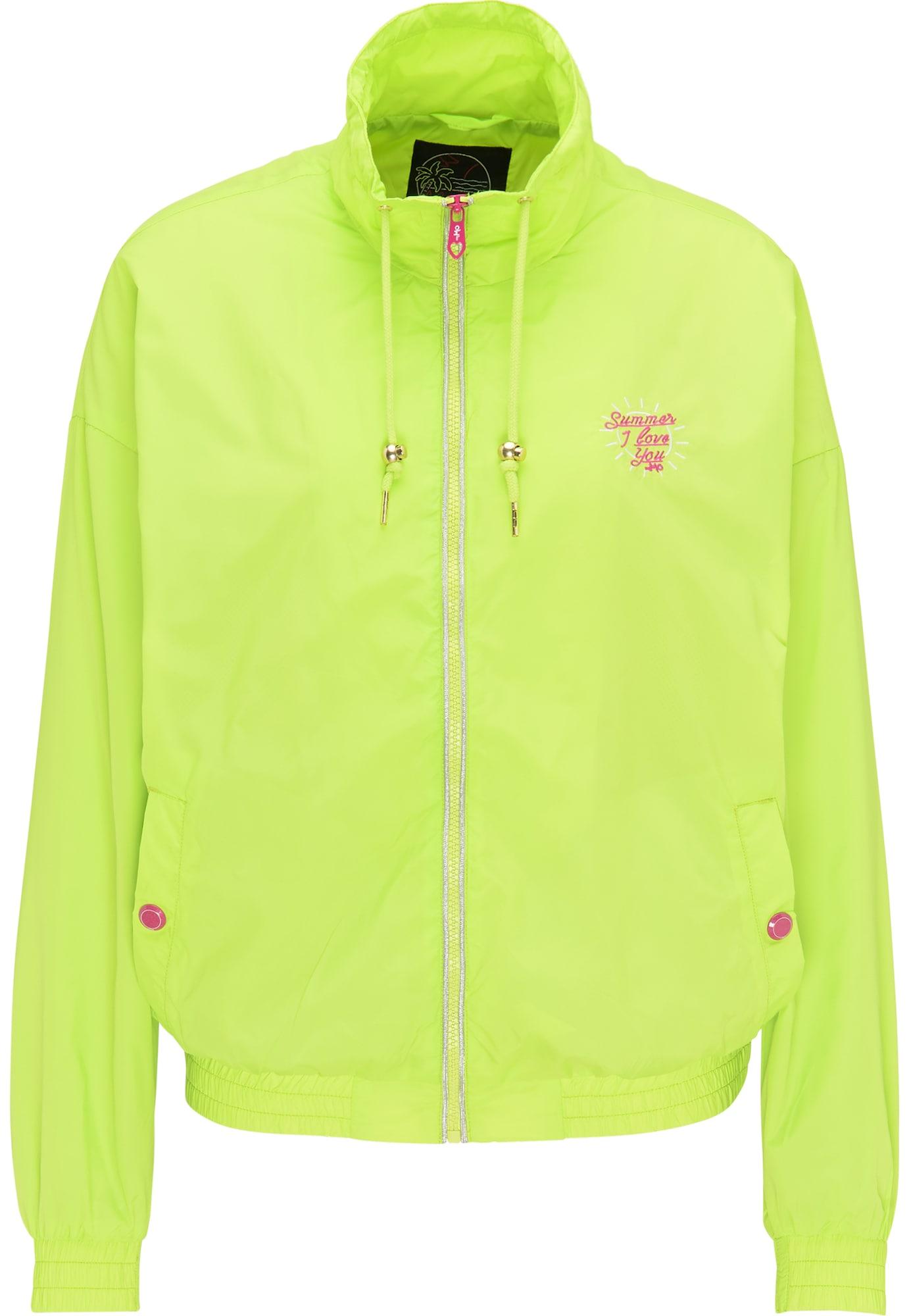 MYMO Demisezoninė striukė neoninė žalia / tamsiai rožinė