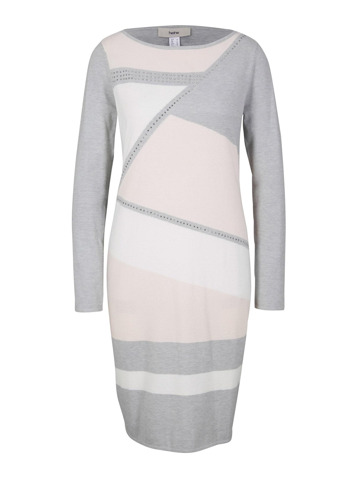 heine Šaty  sivá / biela / svetloružová