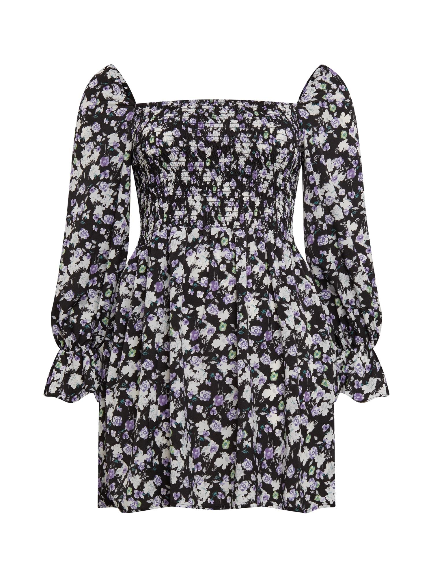 Missguided Plus Vasarinė suknelė juoda / balta / tamsiai violetinė