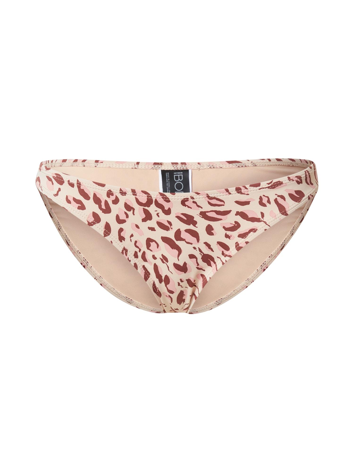 Cotton On Body Bikinio kelnaitės ruda / kapučino spalva / šviesiai rožinė
