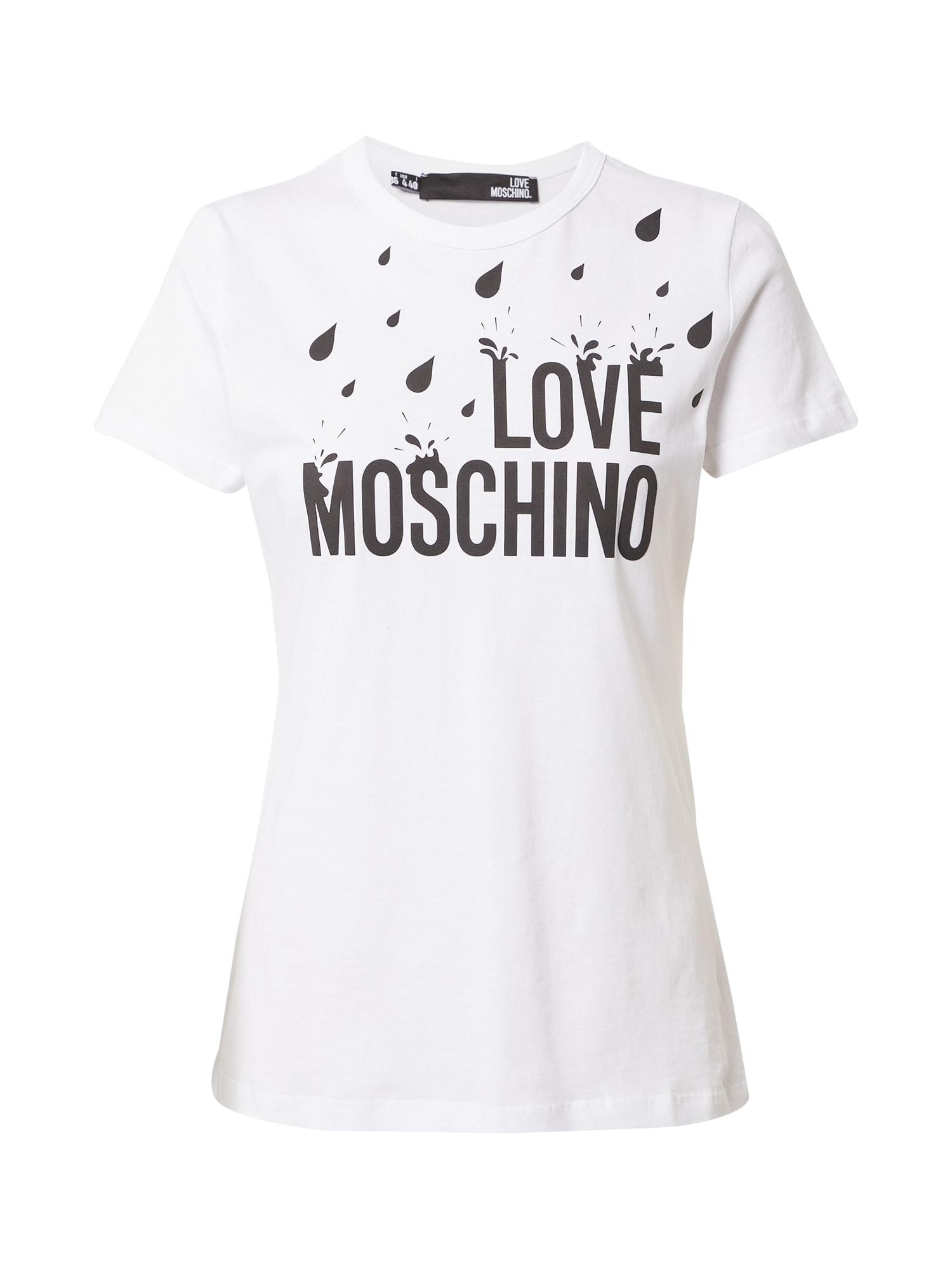 Love Moschino Marškinėliai balta / juoda