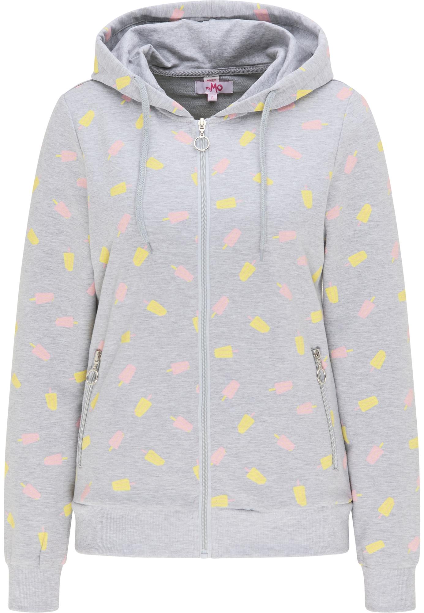 MYMO Džemperis margai pilka / geltona / šviesiai rožinė