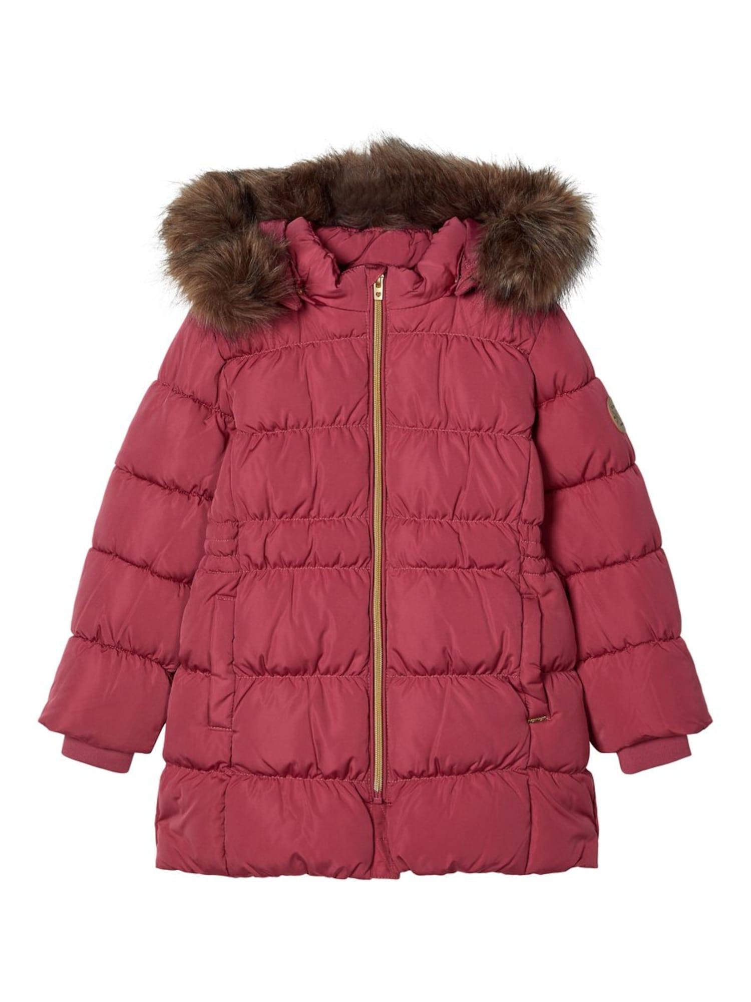 NAME IT Žieminė striukė 'Molly' tamsiai ruda / pastelinė raudona