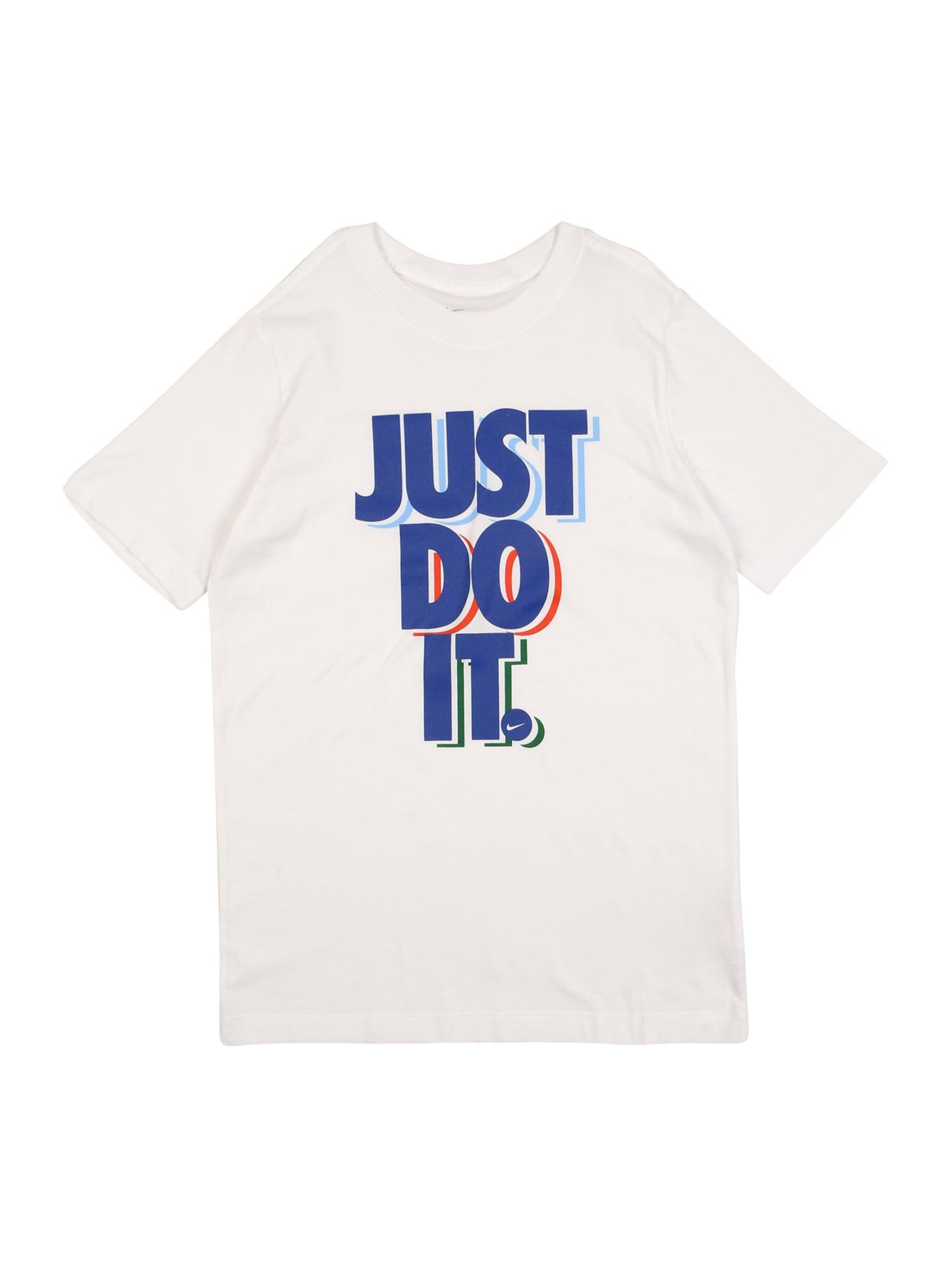 Nike Sportswear Tričko 'STACK'  biela / modrá