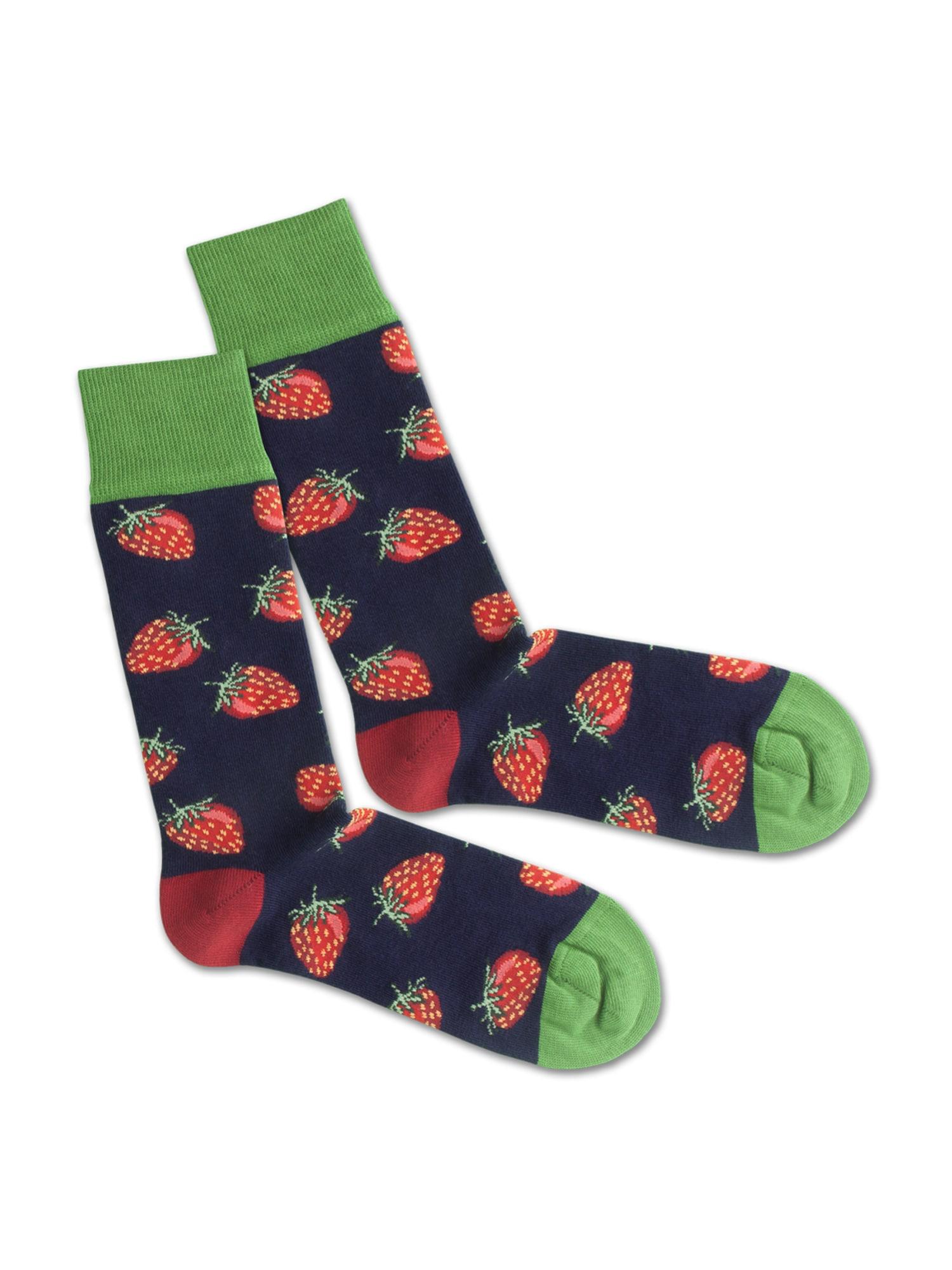 DillySocks Ponožky 'SS20-37 Strawberry Sky'  zelená / tmavě modrá / červená