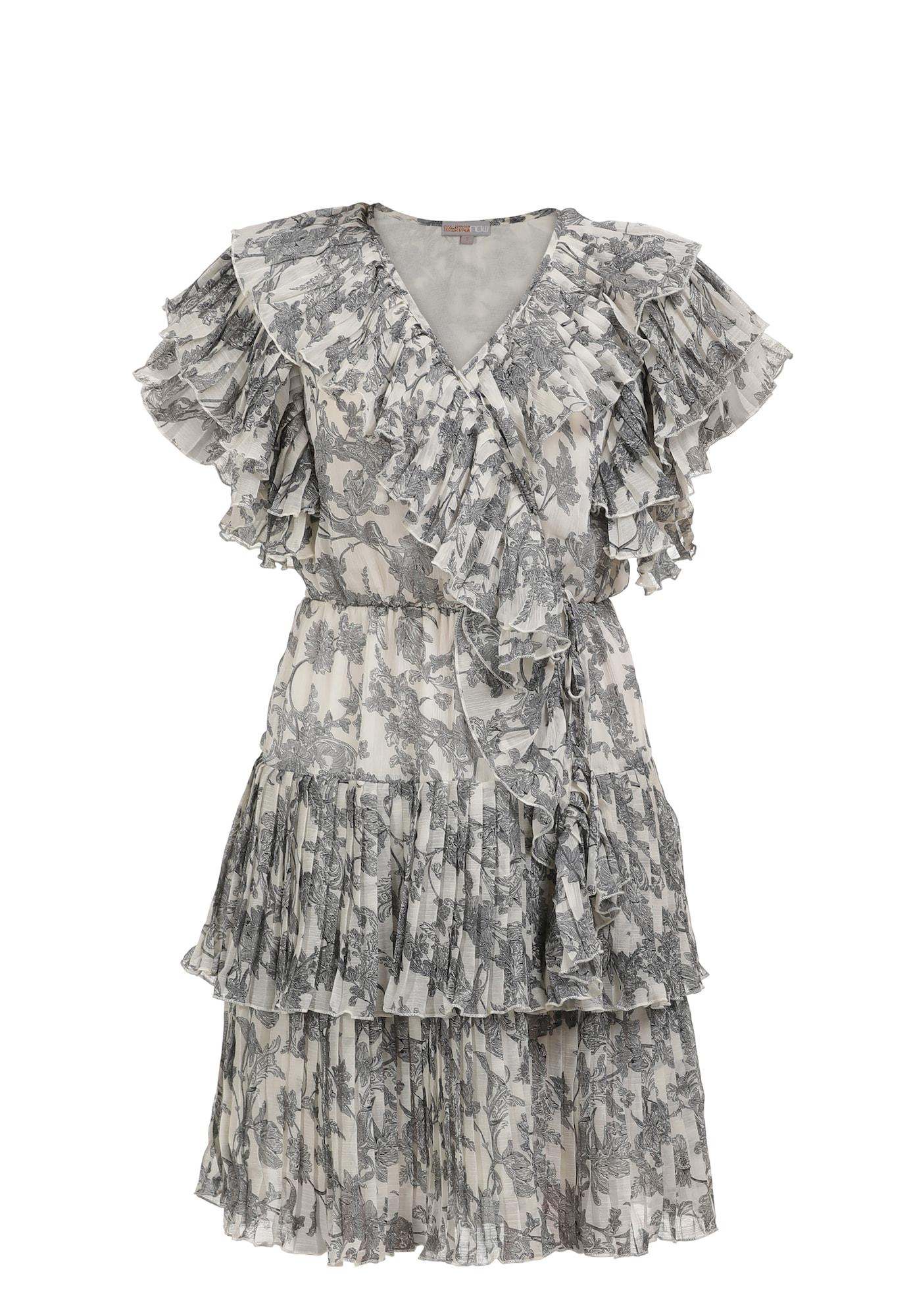 myMo NOW Vasarinė suknelė pilka / balta