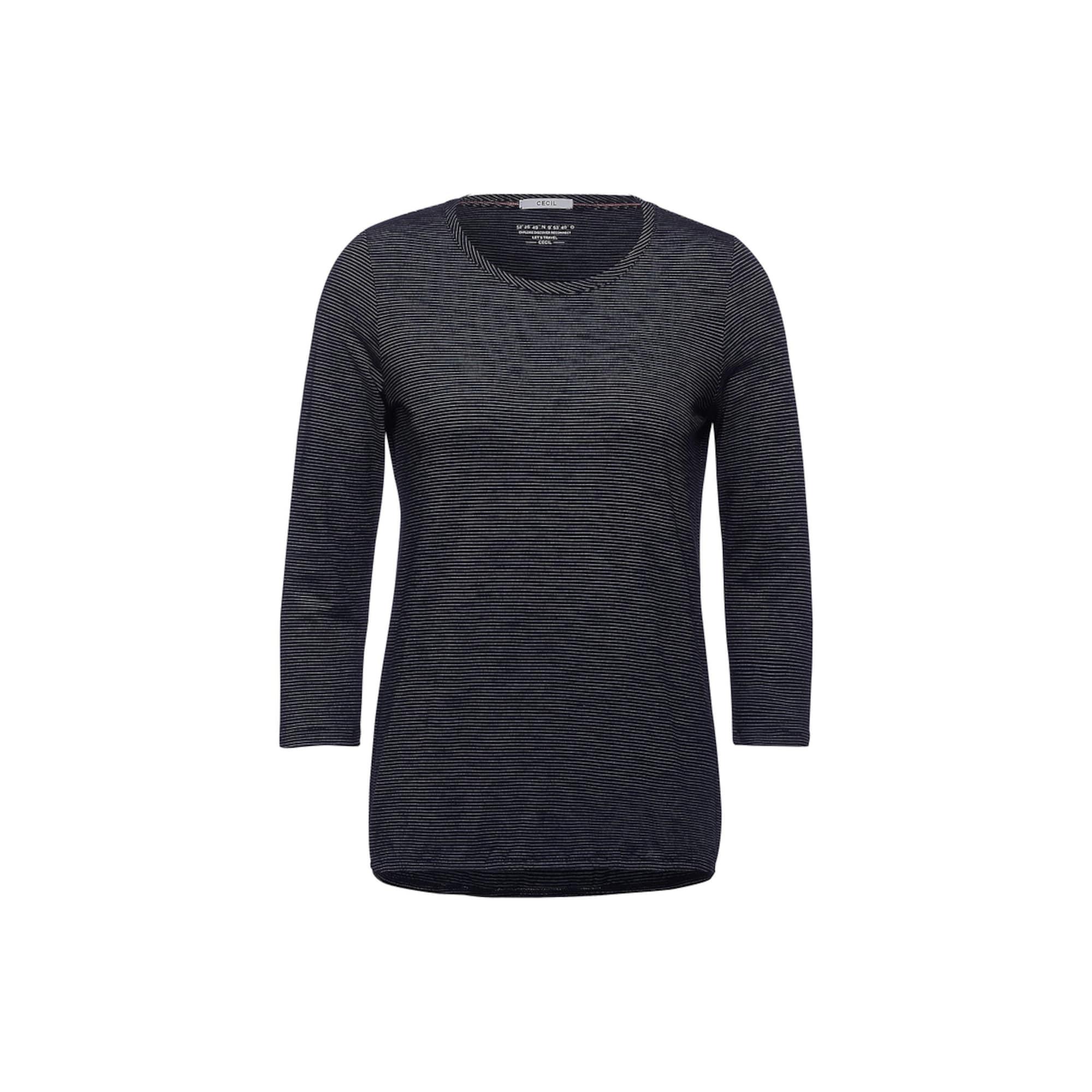 CECIL Marškinėliai juoda / balta