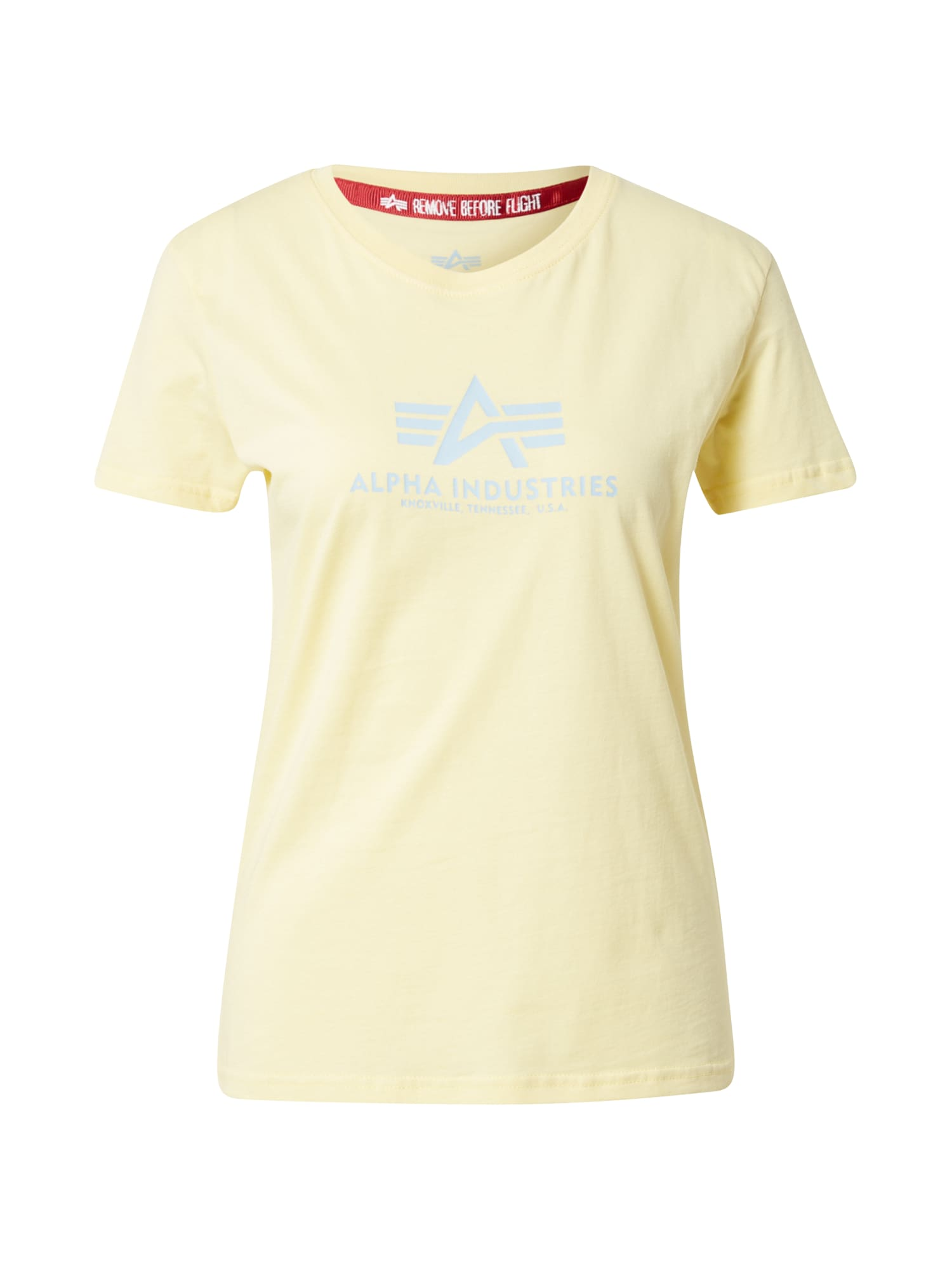 ALPHA INDUSTRIES Marškinėliai pastelinė geltona / šviesiai mėlyna