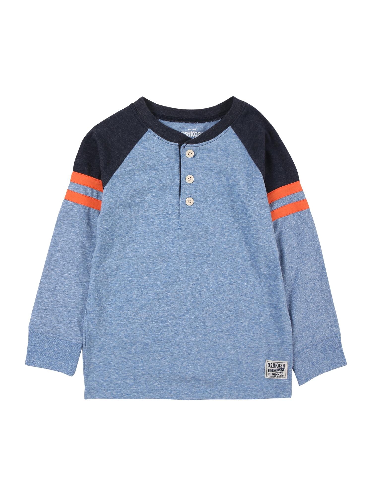 OshKosh Marškinėliai mėlyna dūmų spalva / tamsiai mėlyna jūros spalva / oranžinė
