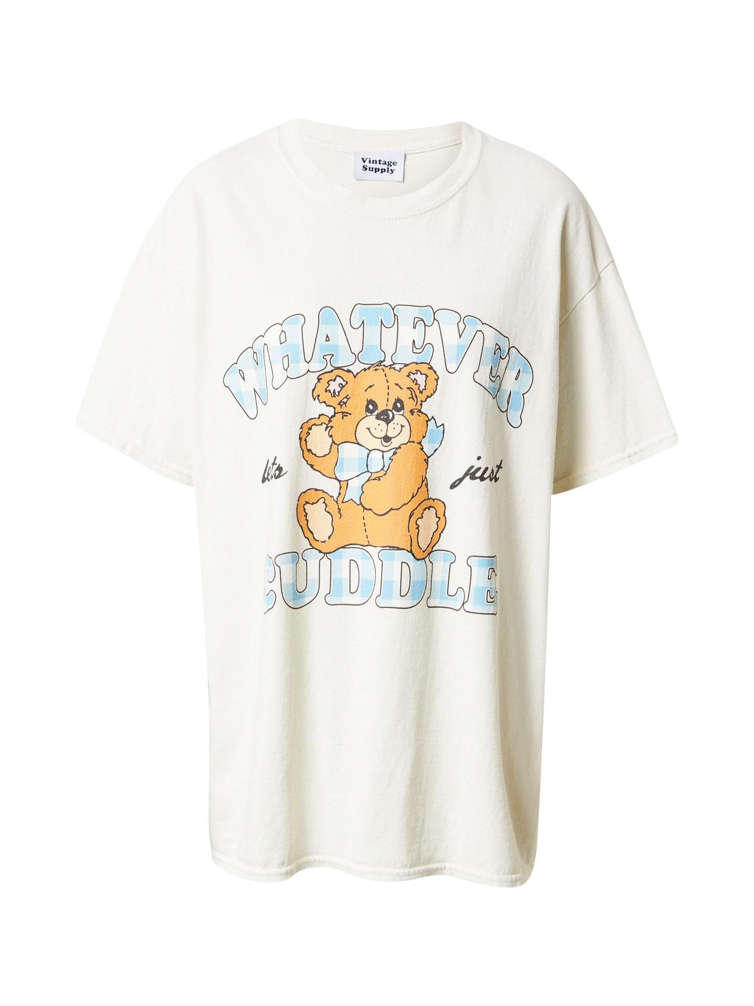 Vintage Supply Tričko  bílá / béžová / světlemodrá