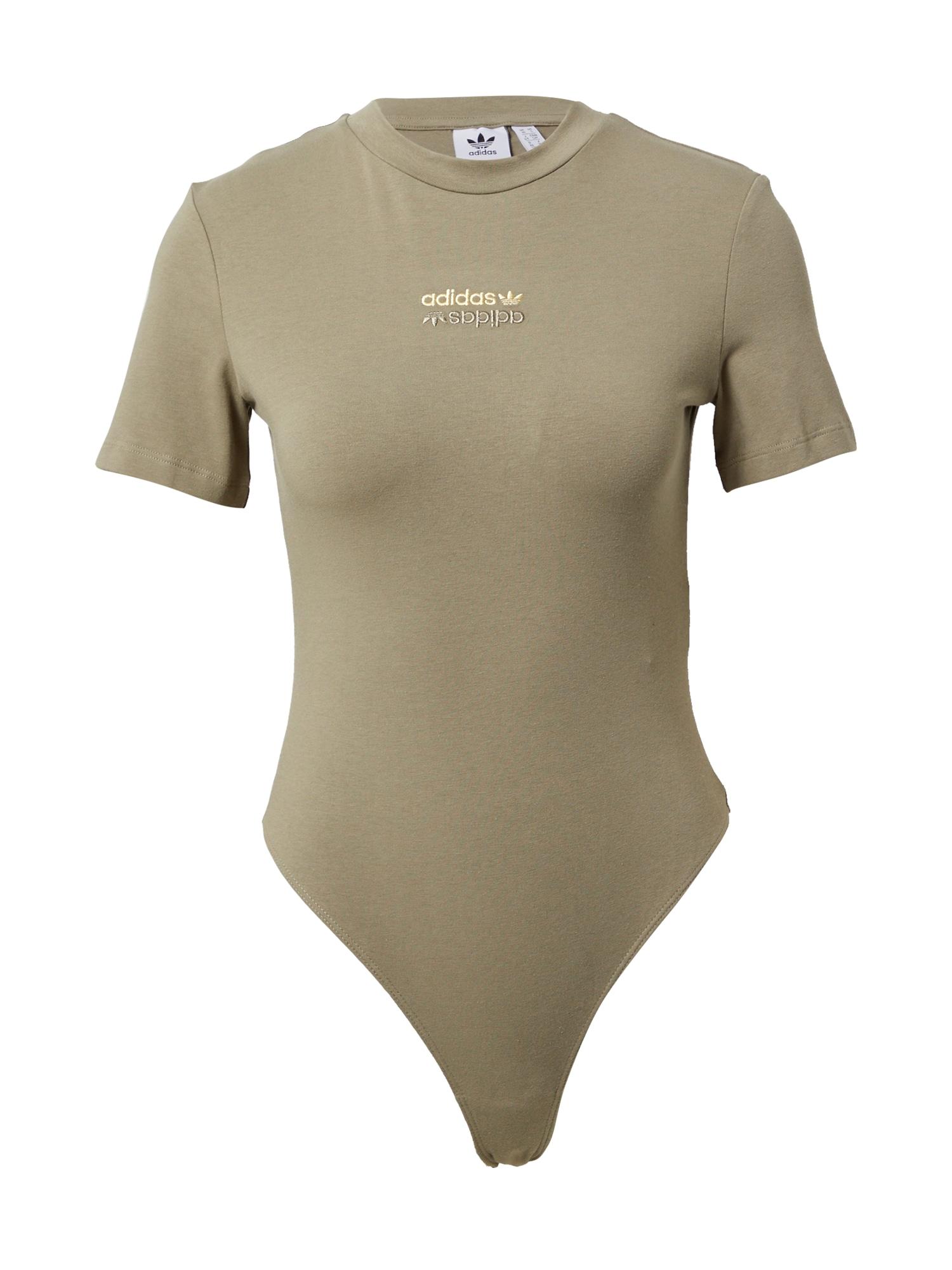 ADIDAS ORIGINALS Marškinėliai-glaustinukė rusvai žalia / aukso geltonumo spalva / sidabro pilka