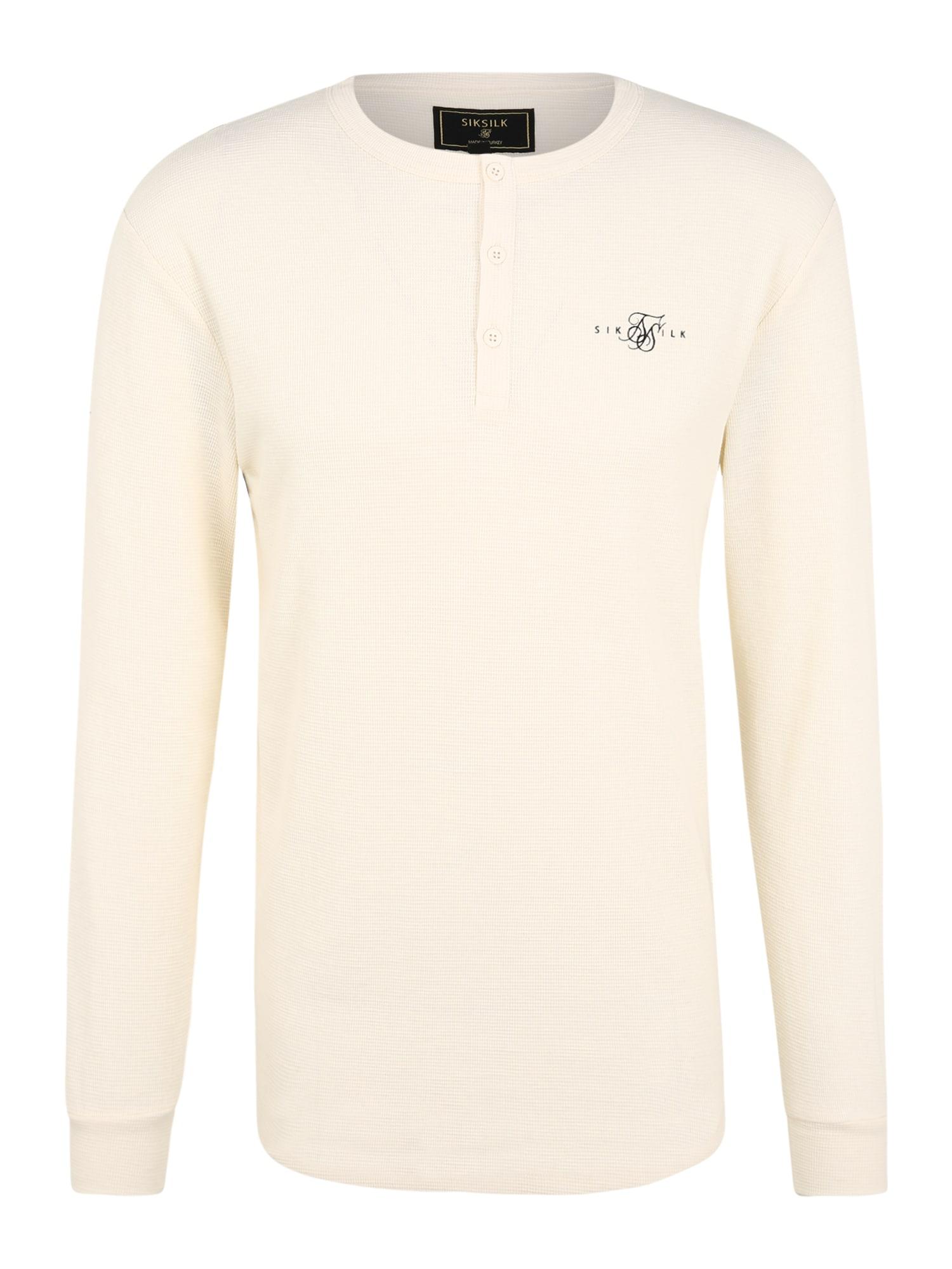 SikSilk Marškinėliai nebalintos drobės spalva / juoda