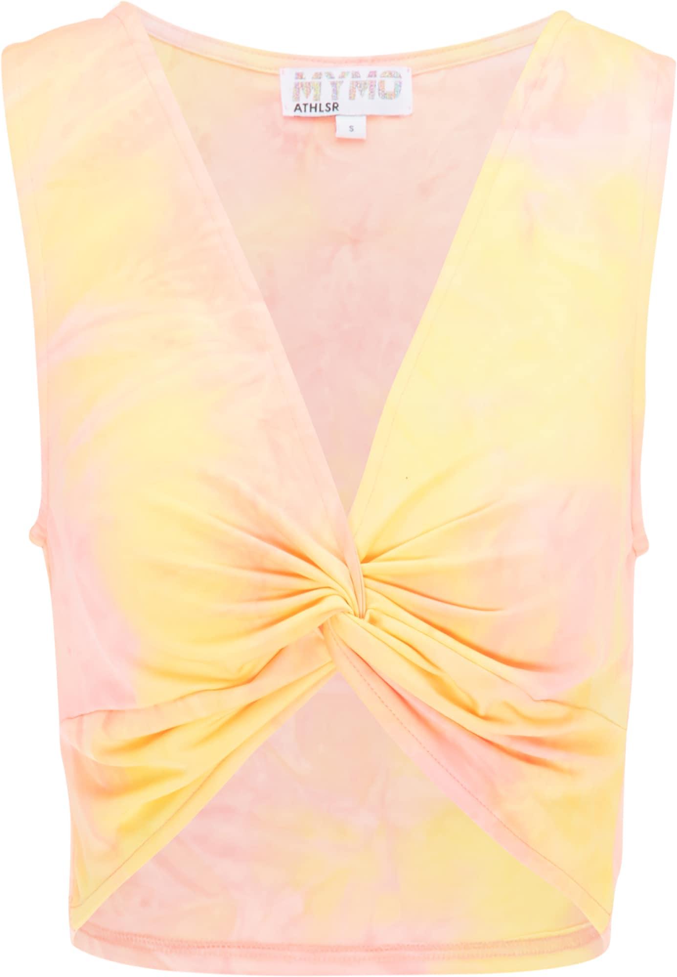 myMo ATHLSR Sportiniai marškinėliai be rankovių oranžinė / rožių spalva / geltona