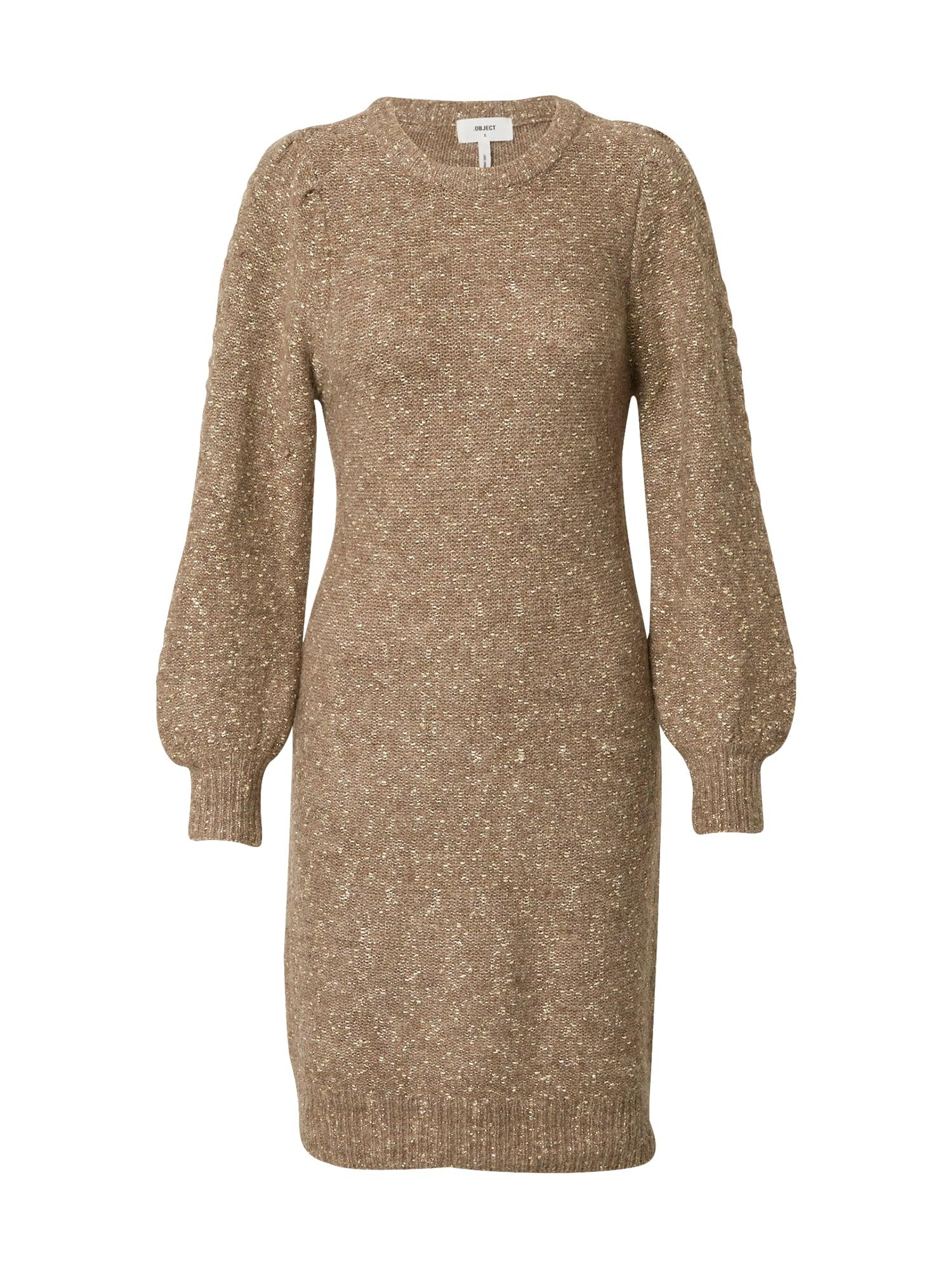 OBJECT Úpletové šaty 'Randy'  zlatá / hnědá