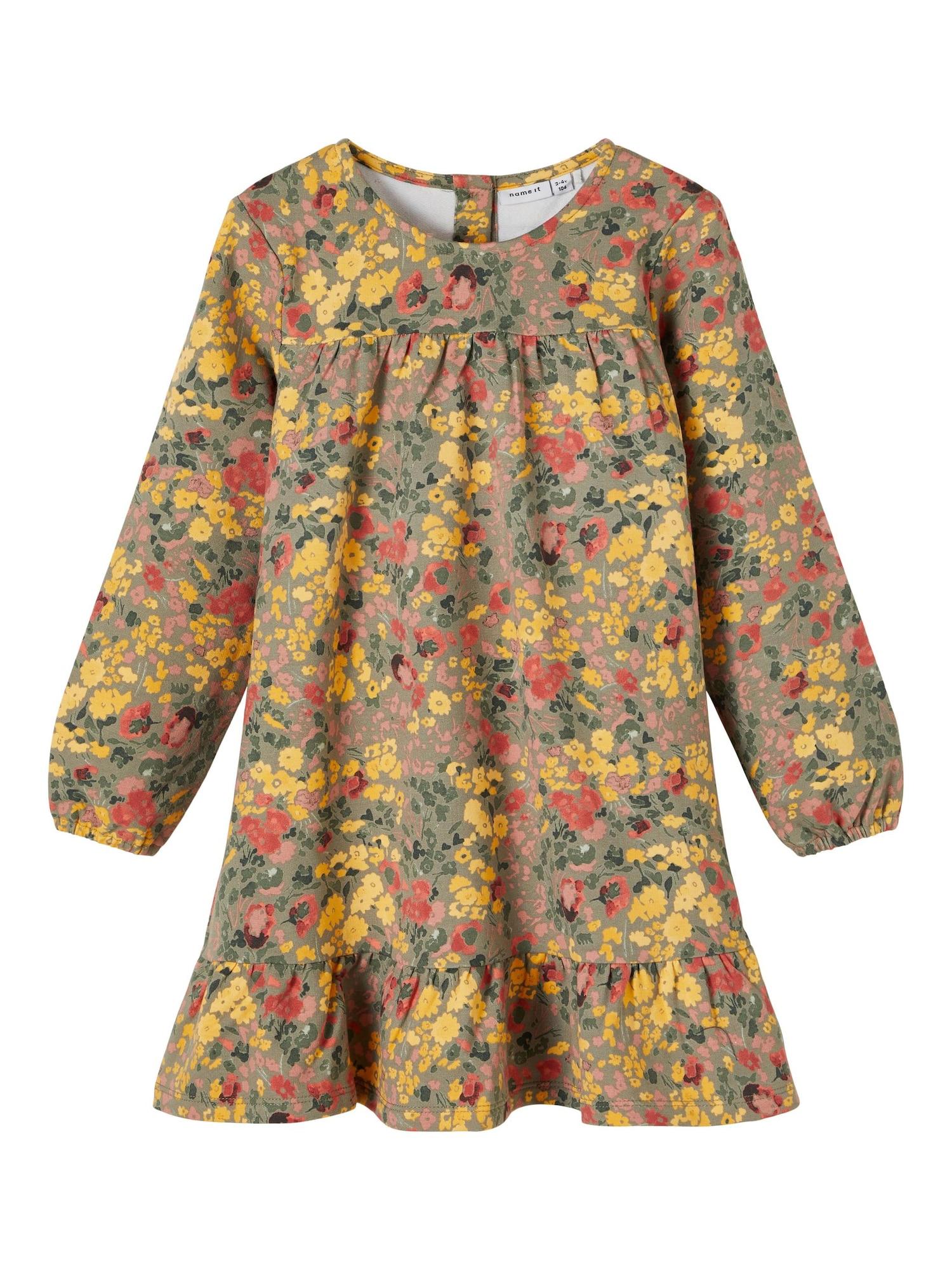 NAME IT Suknelė 'Bada' alyvuogių spalva / geltona / raudona / rožių spalva