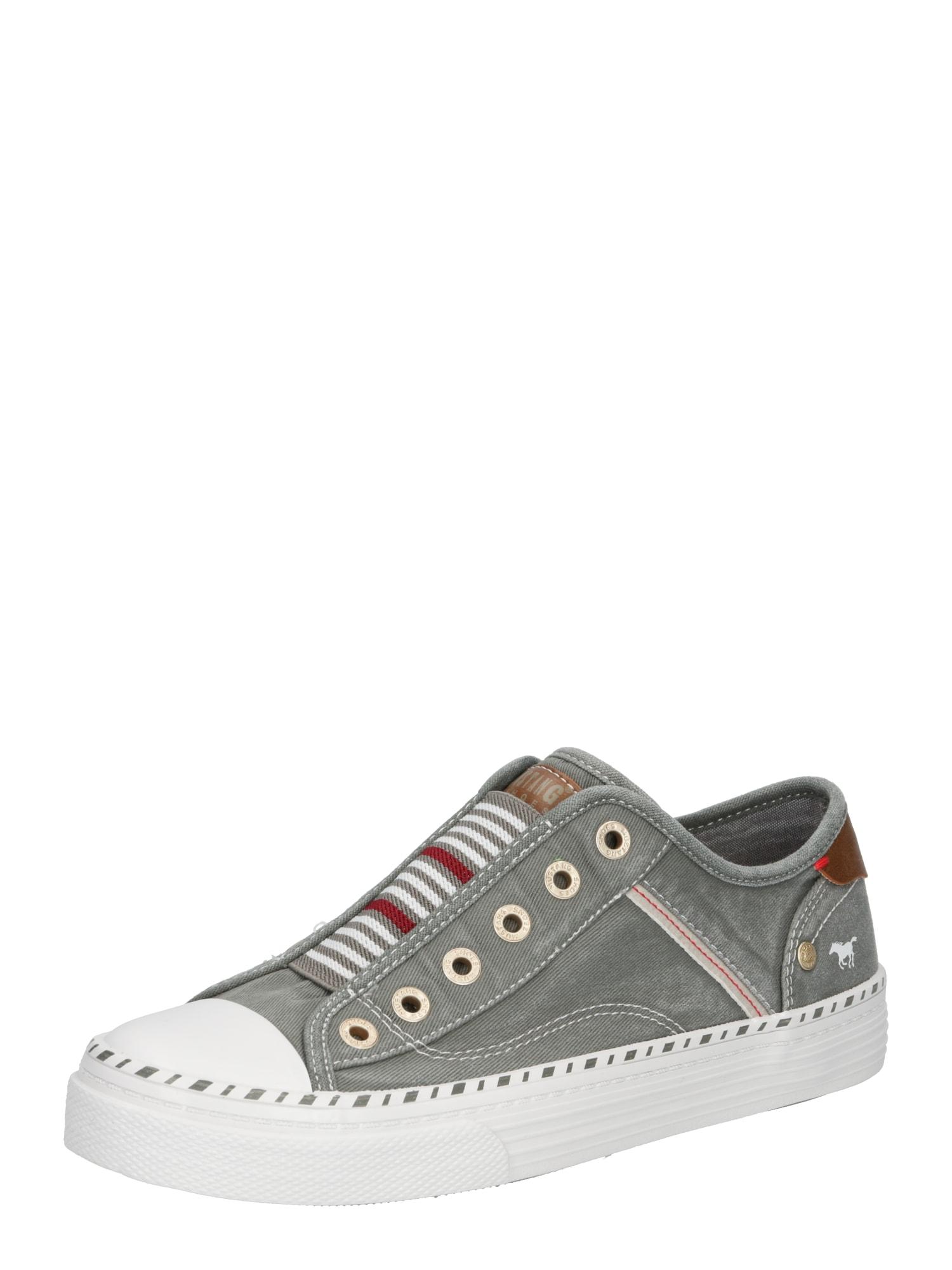 MUSTANG Slip on boty  pastelově zelená / bílá / tmavě červená