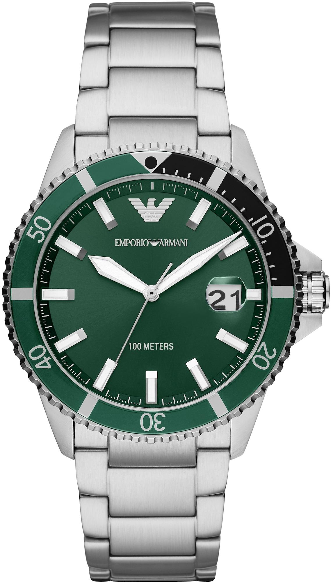 Emporio Armani Analoginis (įprasto dizaino) laikrodis sidabrinė / tamsiai žalia