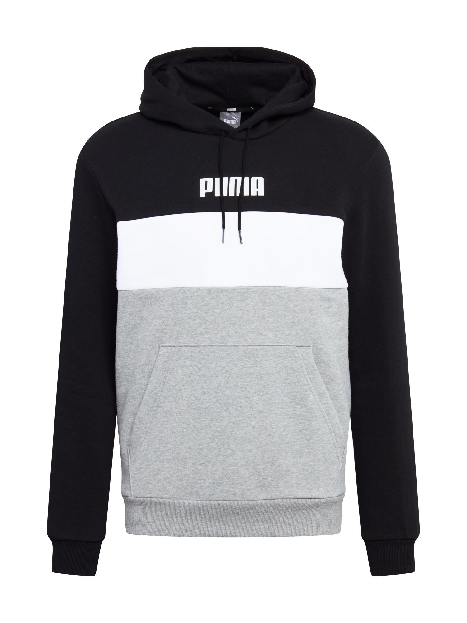 PUMA Sportovní mikina  černá / bílá / šedá
