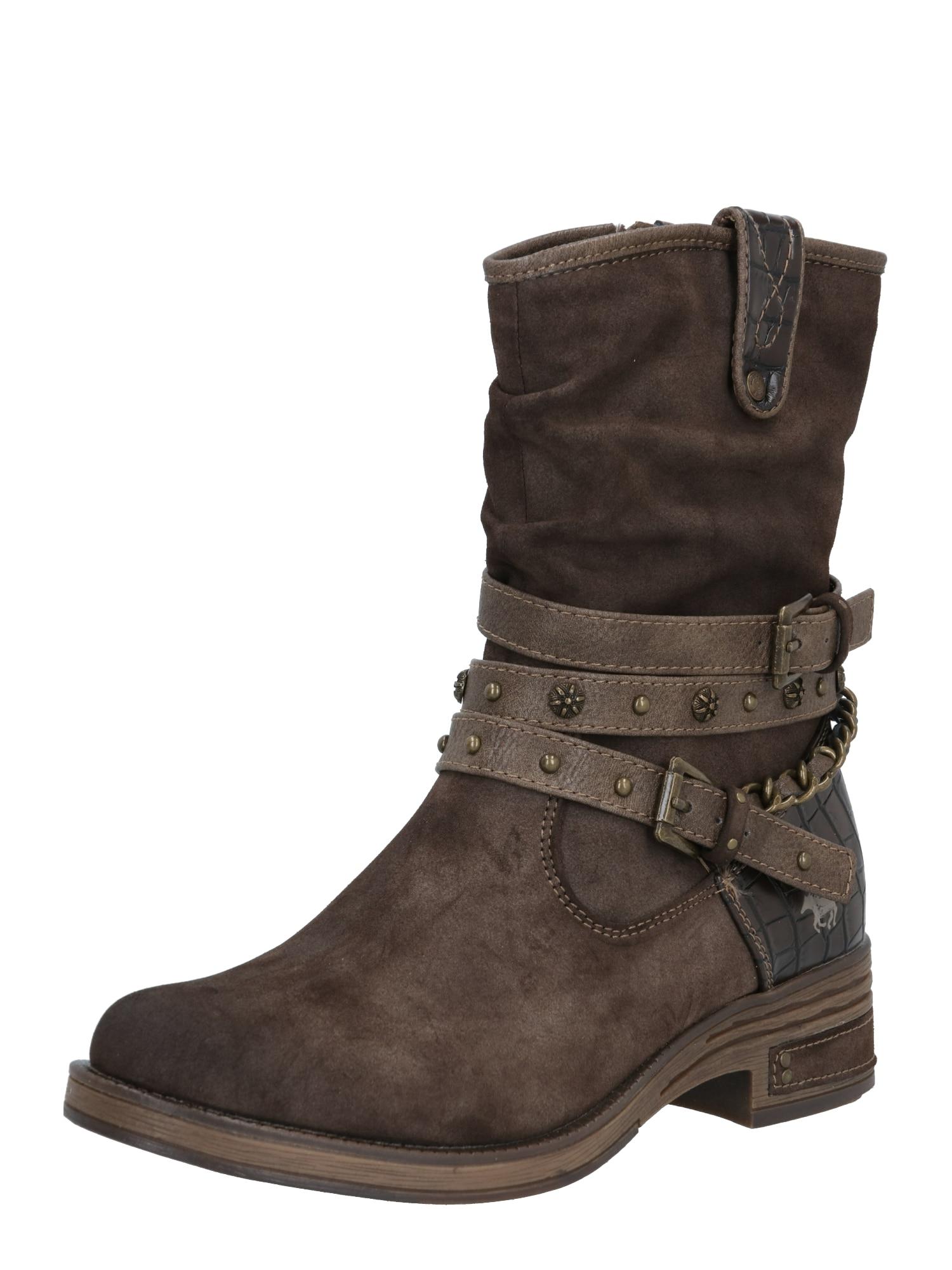 MUSTANG Auliniai batai tamsiai ruda
