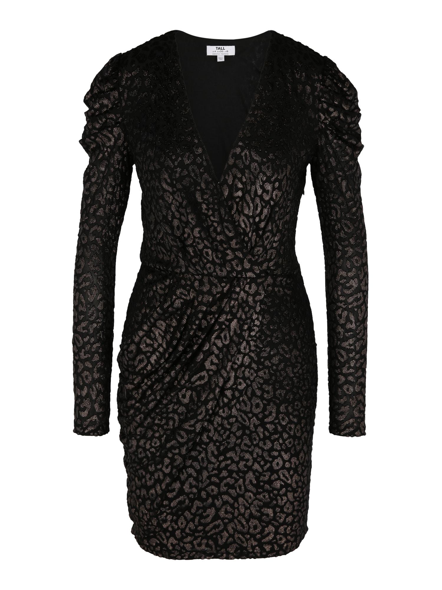 Dorothy Perkins Kokteilinė suknelė juoda / sidabro pilka