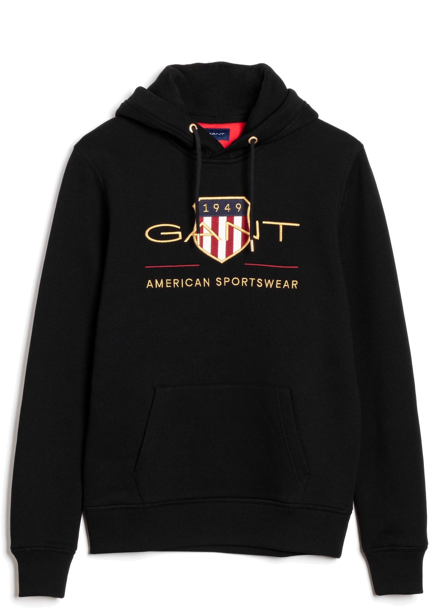 GANT Megztinis be užsegimo juoda / aukso geltonumo spalva / balta / ugnies raudona / tamsiai mėlyna jūros spalva