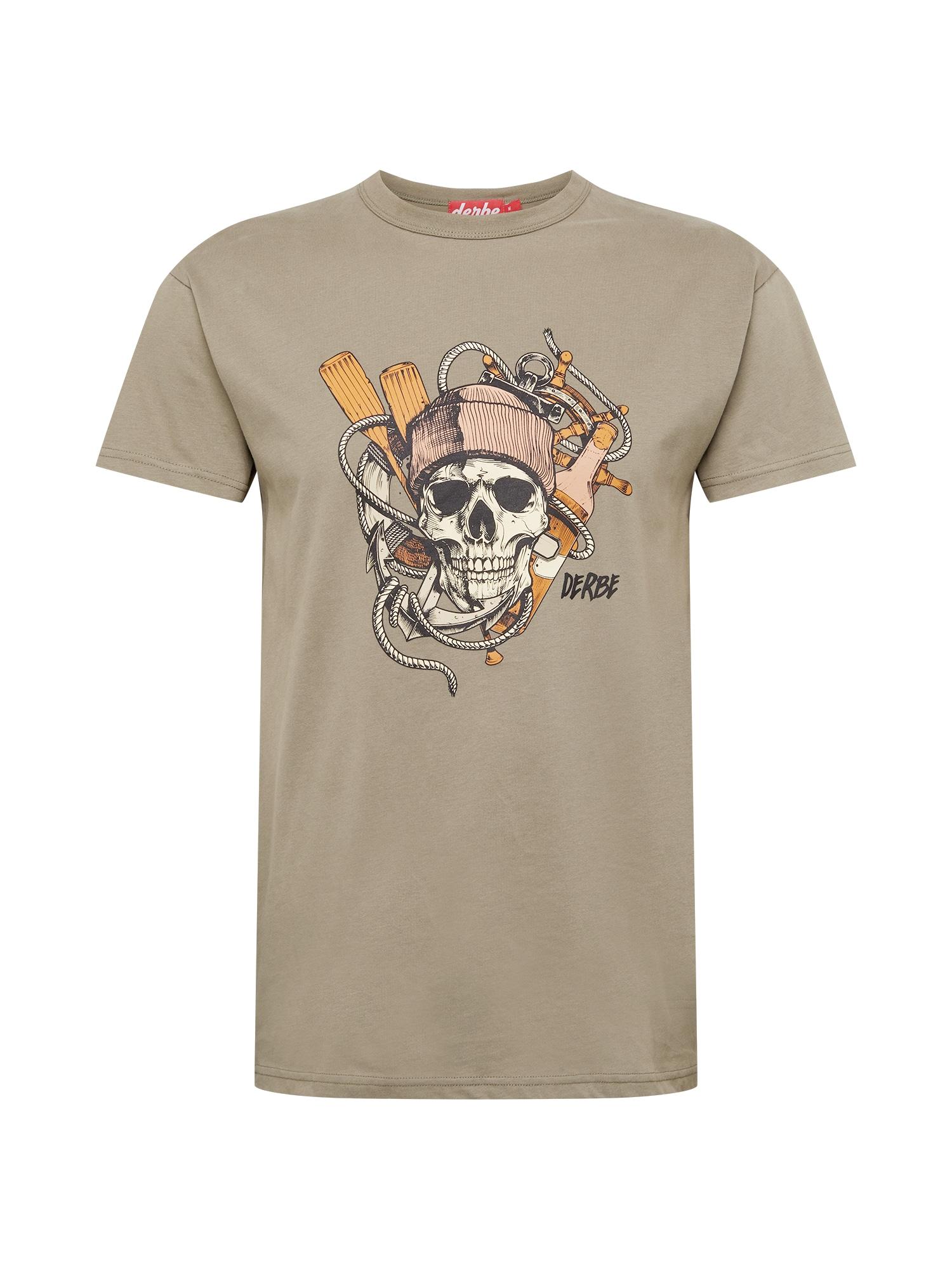 Derbe Marškinėliai alyvuogių spalva / balta / oranžinė / rožių spalva