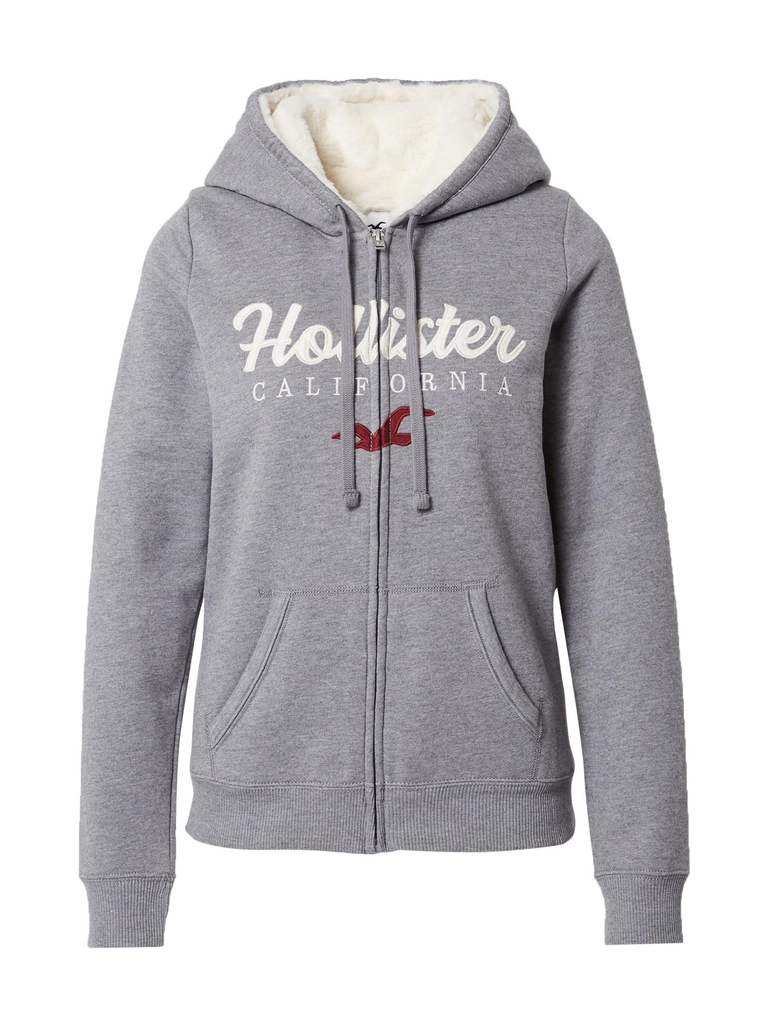HOLLISTER Džemperis pilka / balta / kraujo spalva