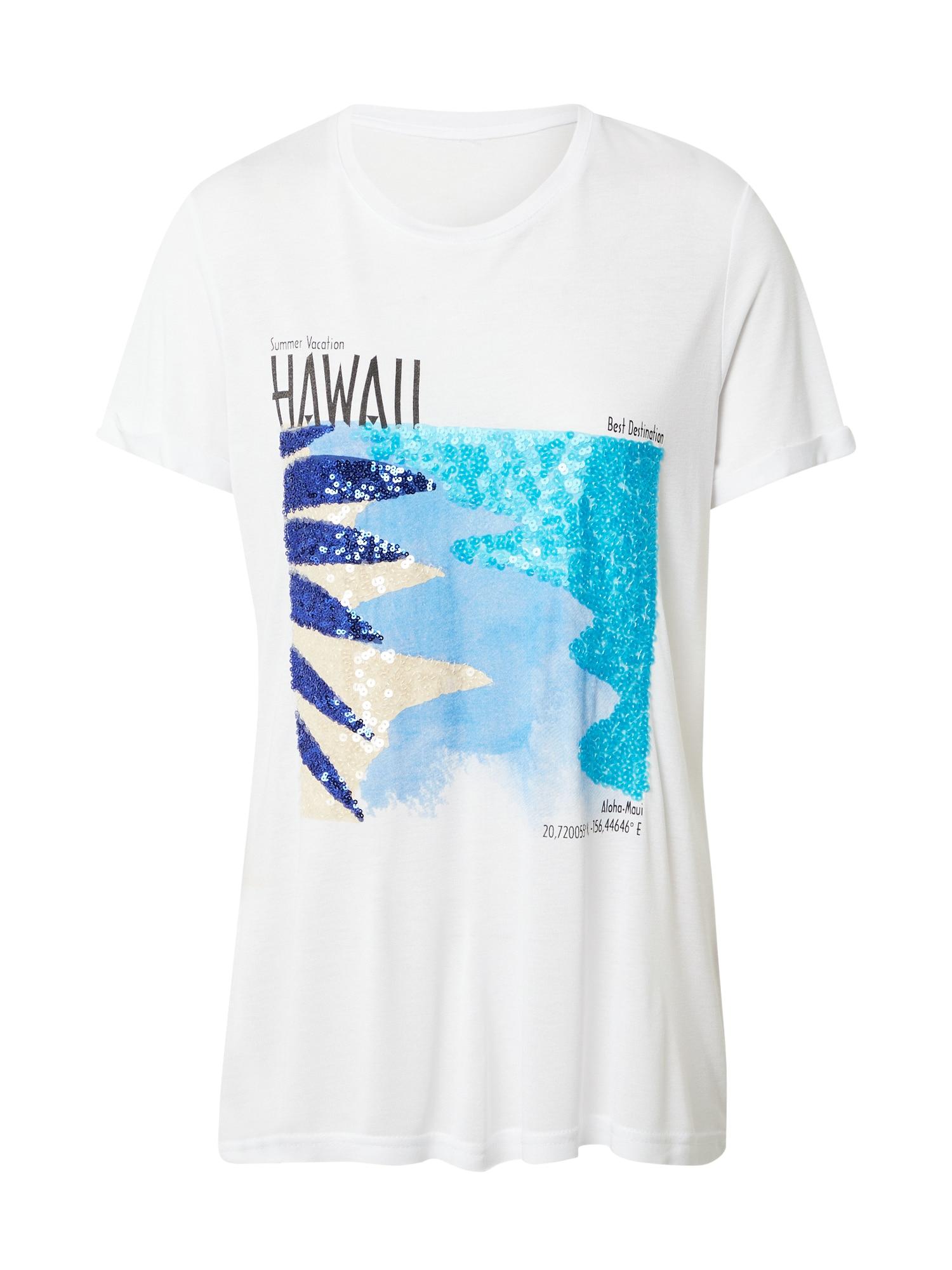 Sublevel Marškinėliai balta / turkio spalva / tamsiai mėlyna