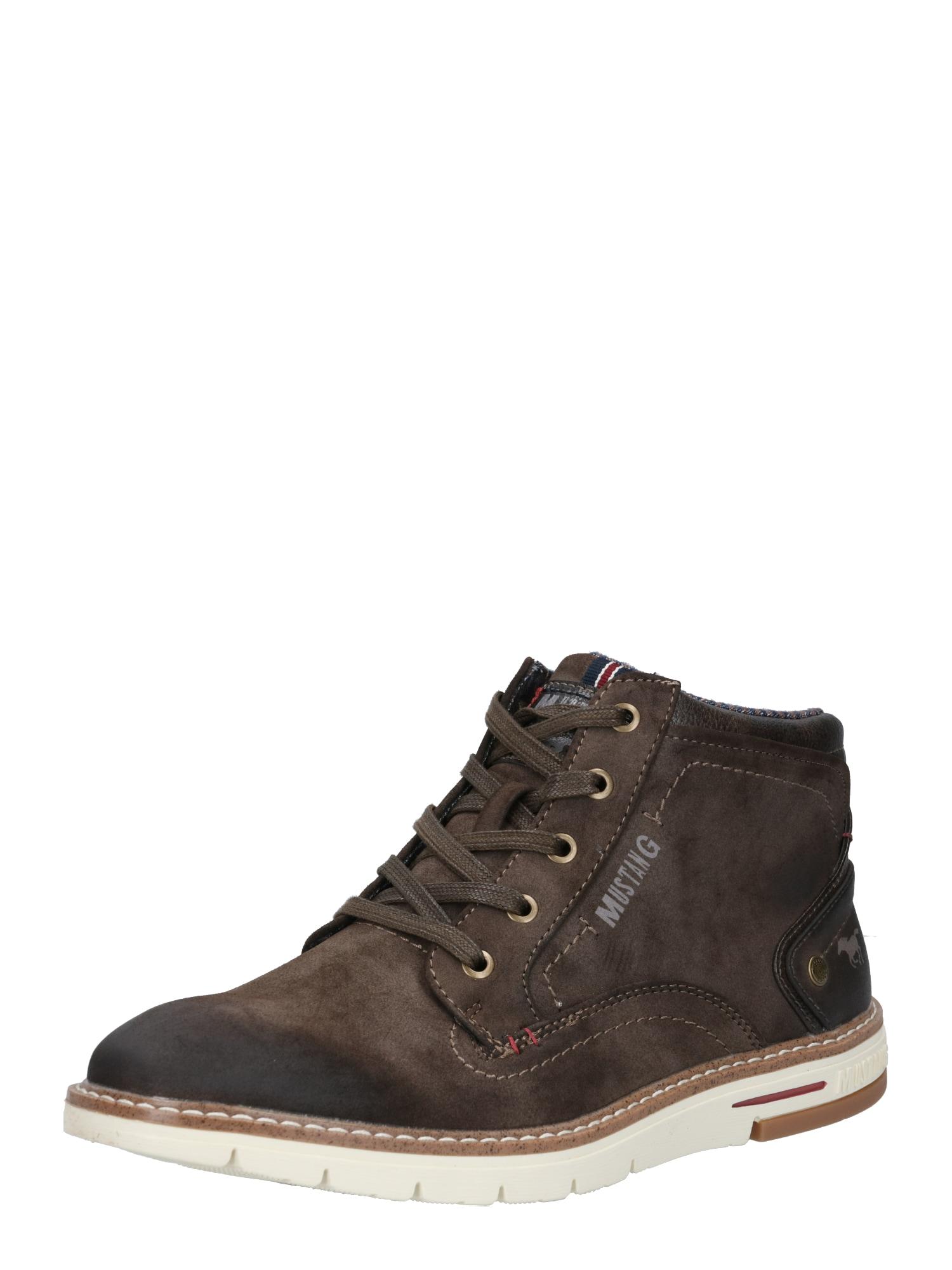 MUSTANG Šněrovací boty  tmavě hnědá