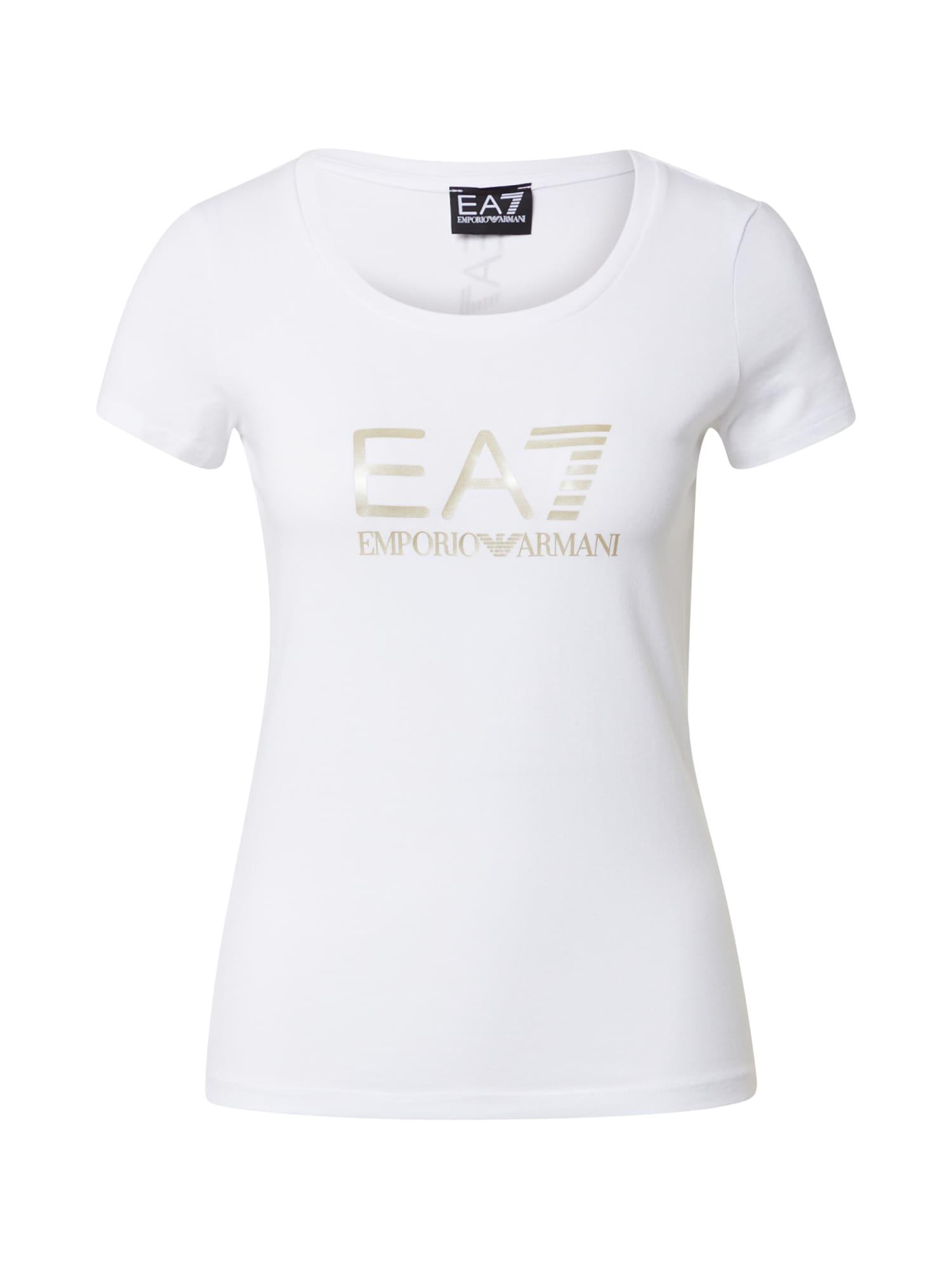 EA7 Emporio Armani Marškinėliai balta / aukso geltonumo spalva