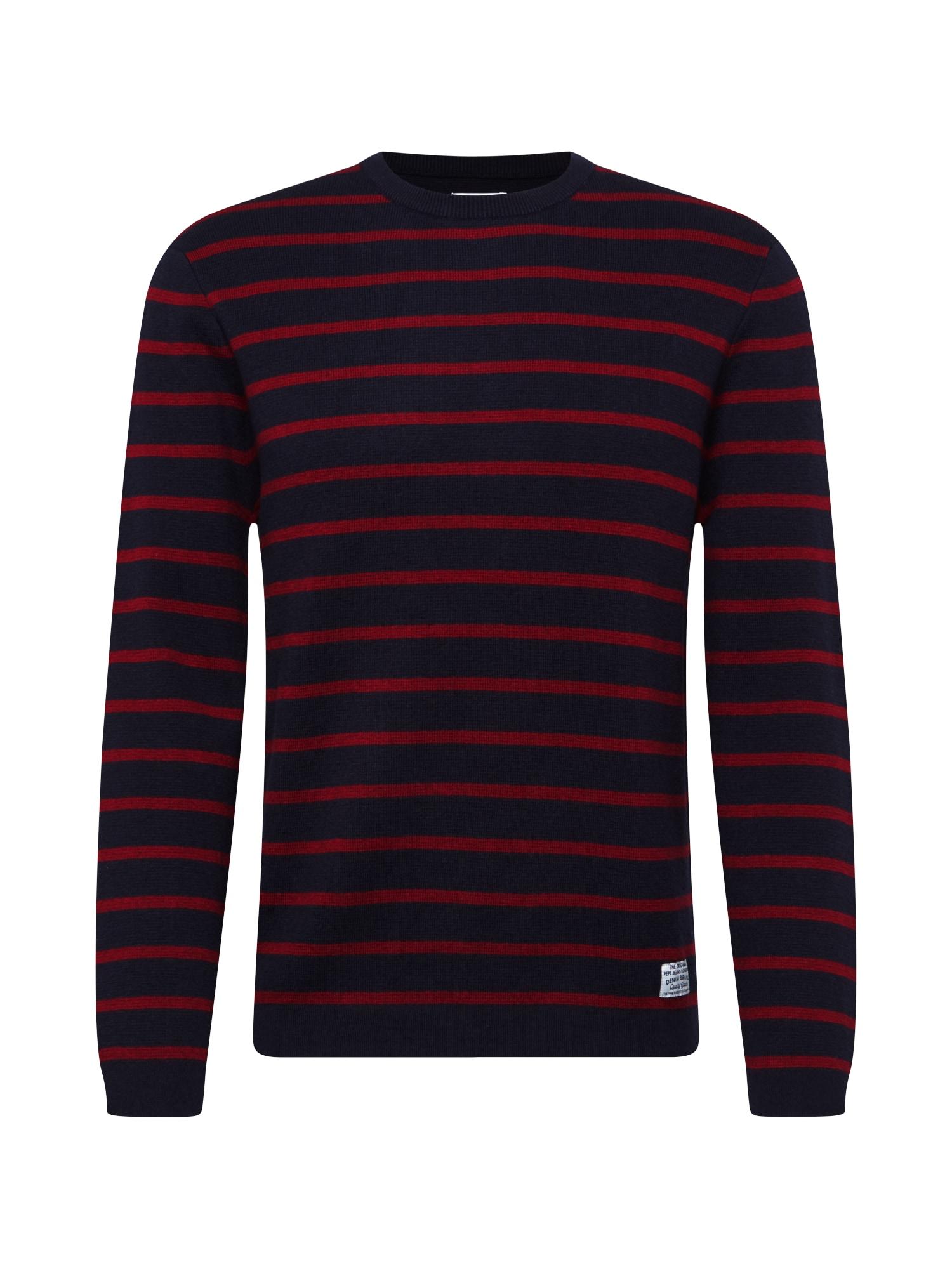 Pepe Jeans Svetr 'Hugo'  tmavě modrá / červená