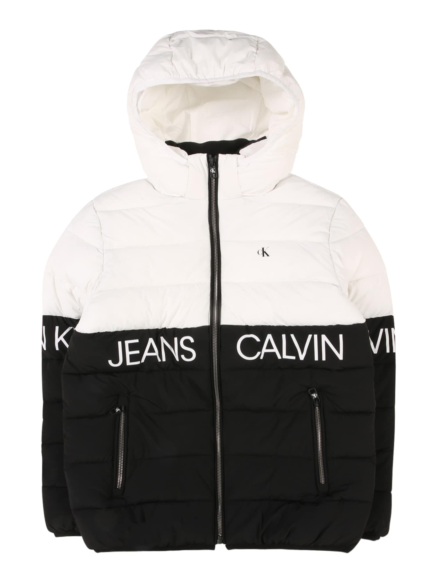 Calvin Klein Jeans Demisezoninė striukė balta / juoda