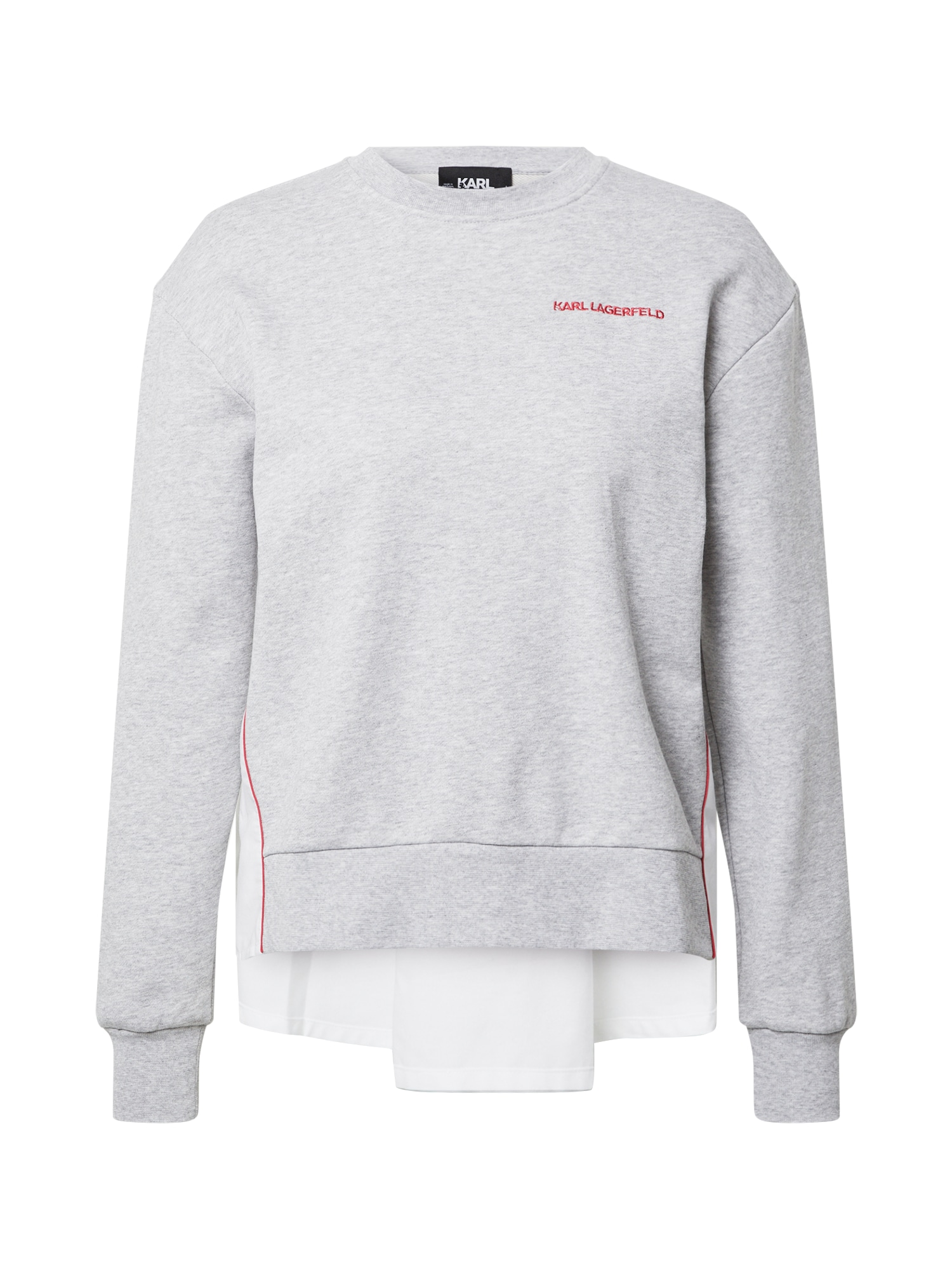 Karl Lagerfeld Megztinis be užsegimo margai pilka / balta / raudona
