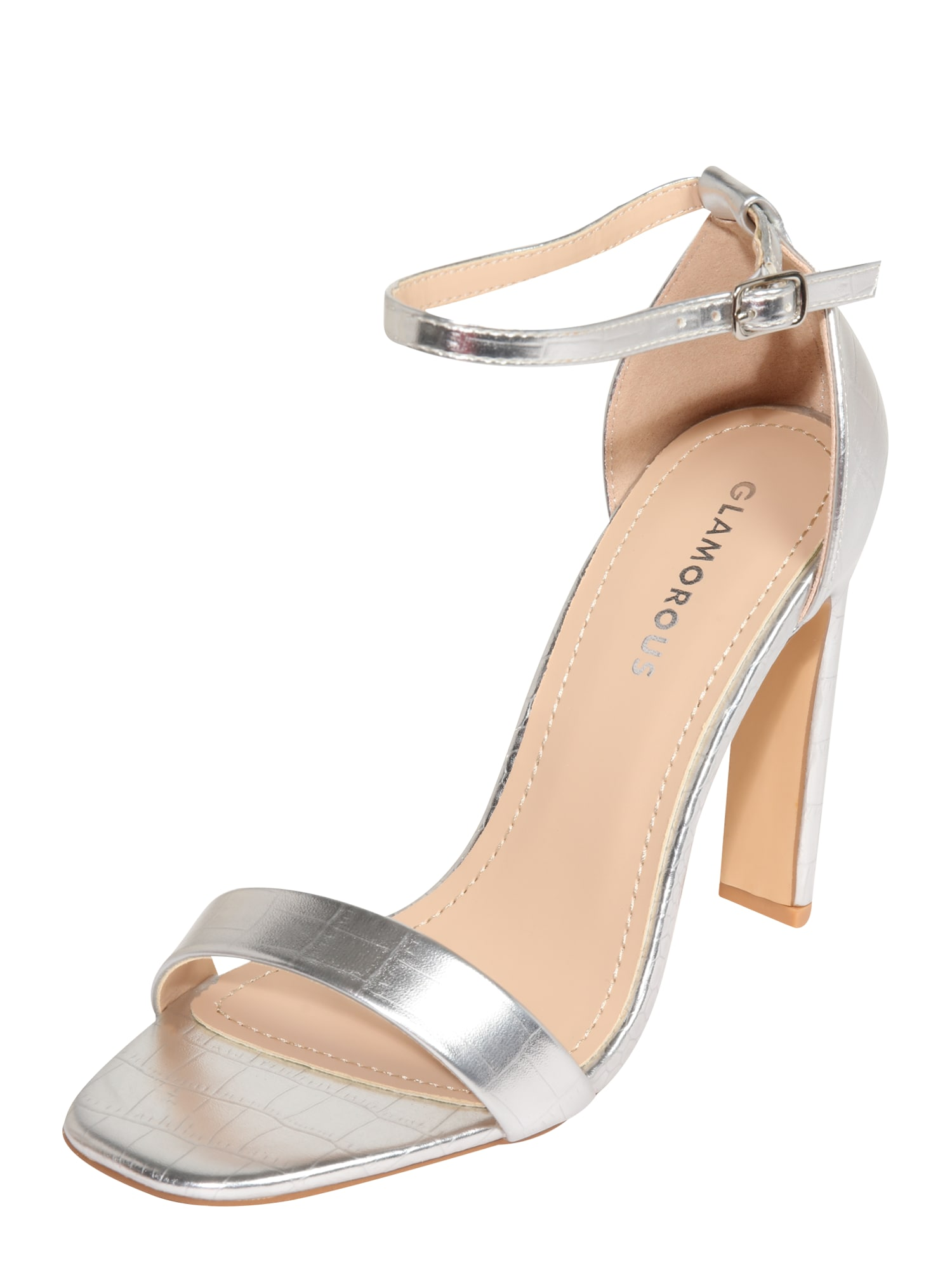 GLAMOROUS Páskové sandály  stříbrná