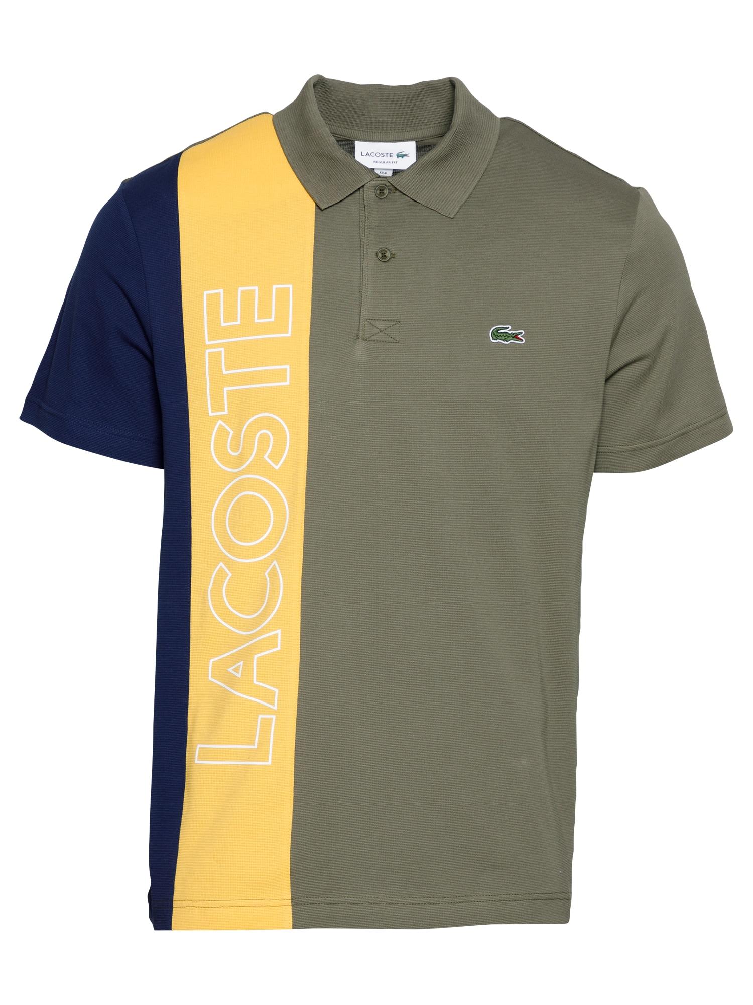 LACOSTE Marškinėliai alyvuogių spalva / tamsiai geltona / tamsiai mėlyna / balta