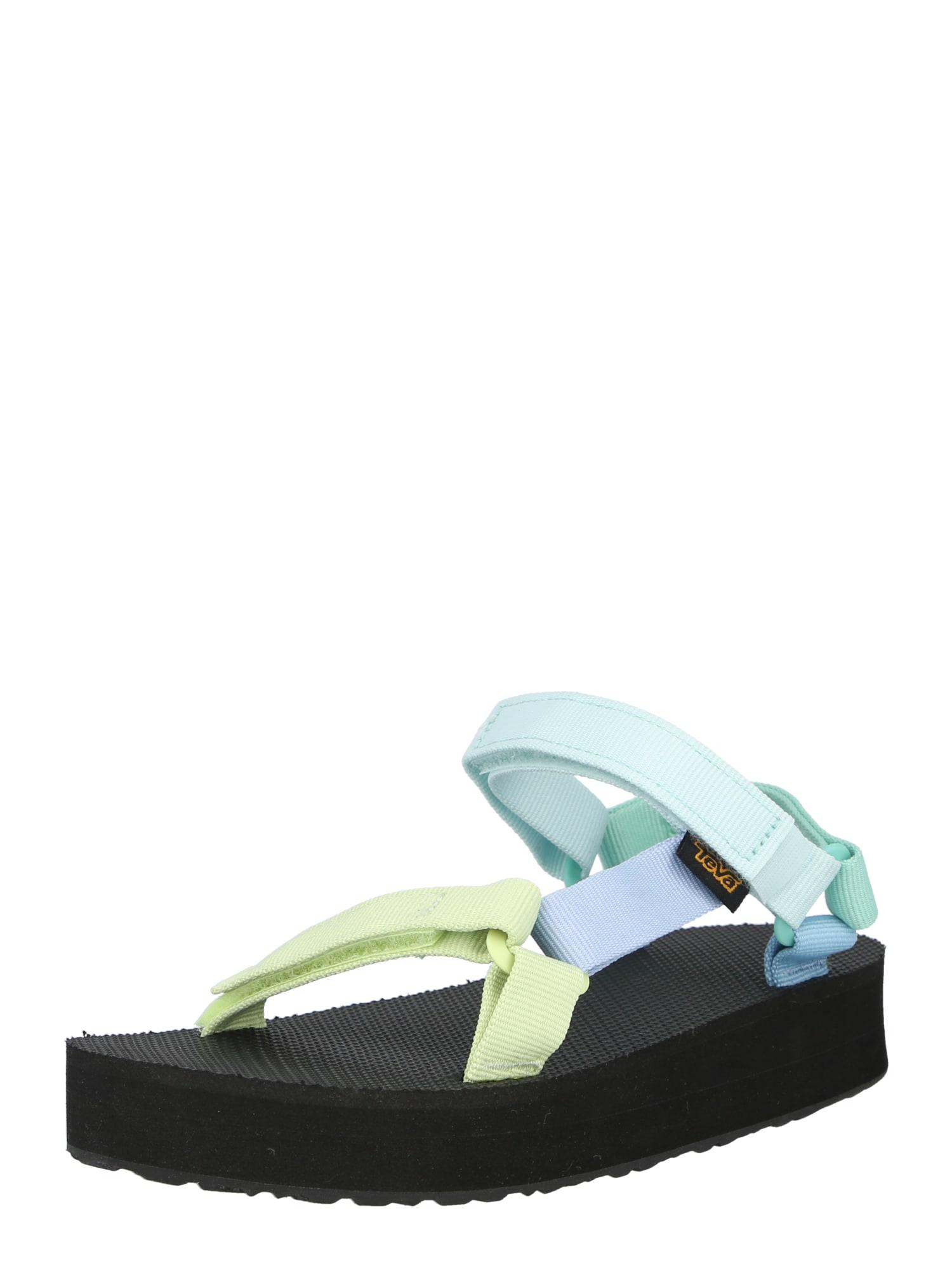 TEVA Atviri batai šviesiai mėlyna / mėtų spalva / šviesiai geltona / juoda